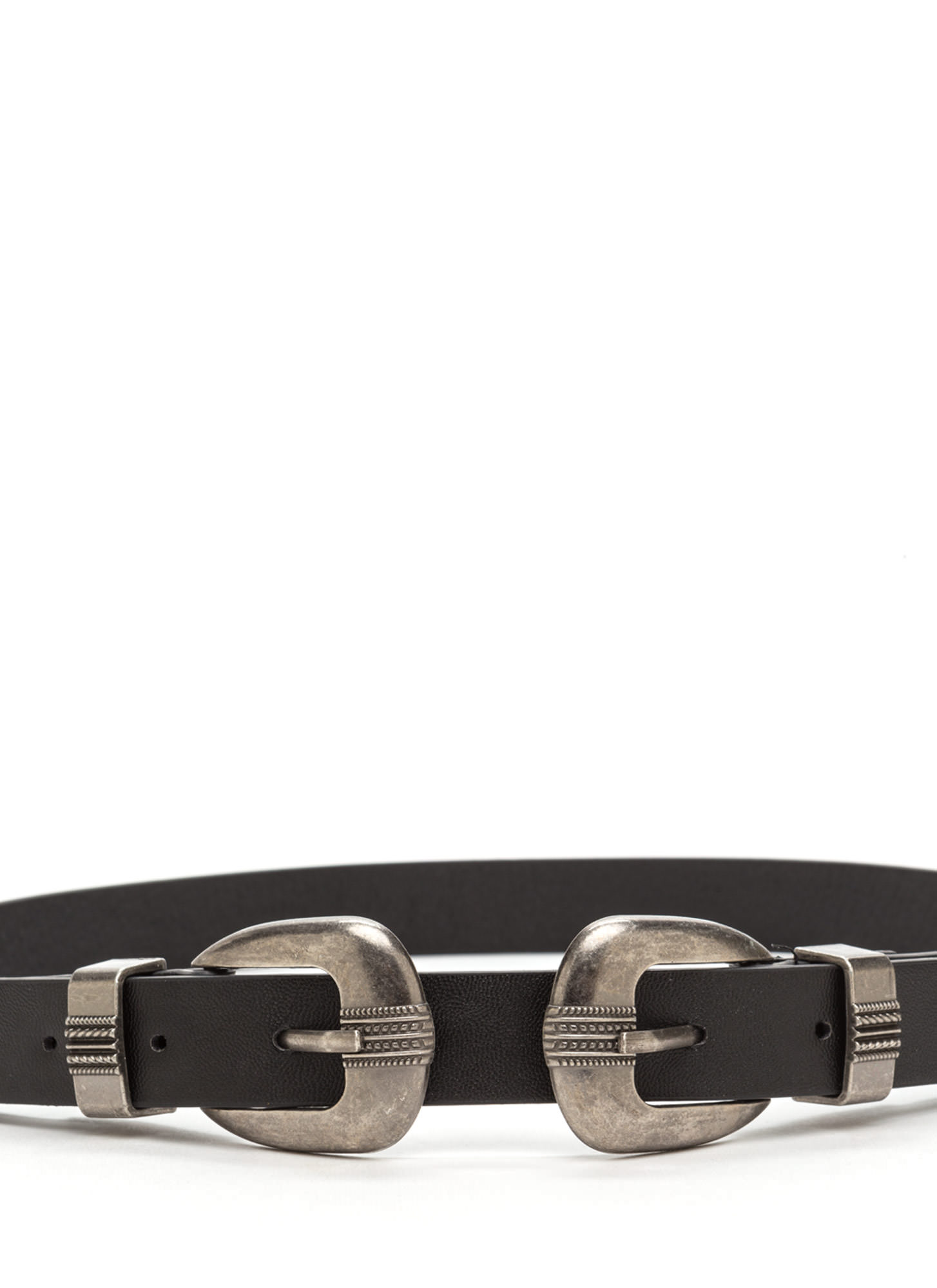Modern Spin Double Buckle Belt SILVERBLACK
