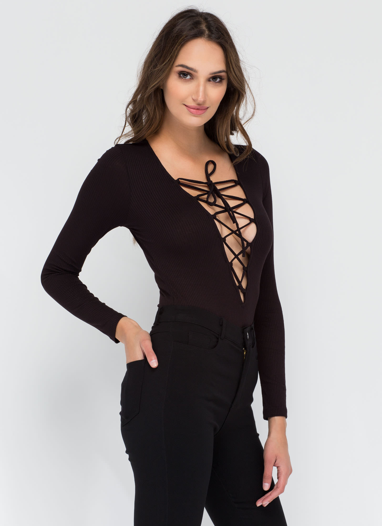 On Call Ribbed Lace-Up Thong Bodysuit BLACK