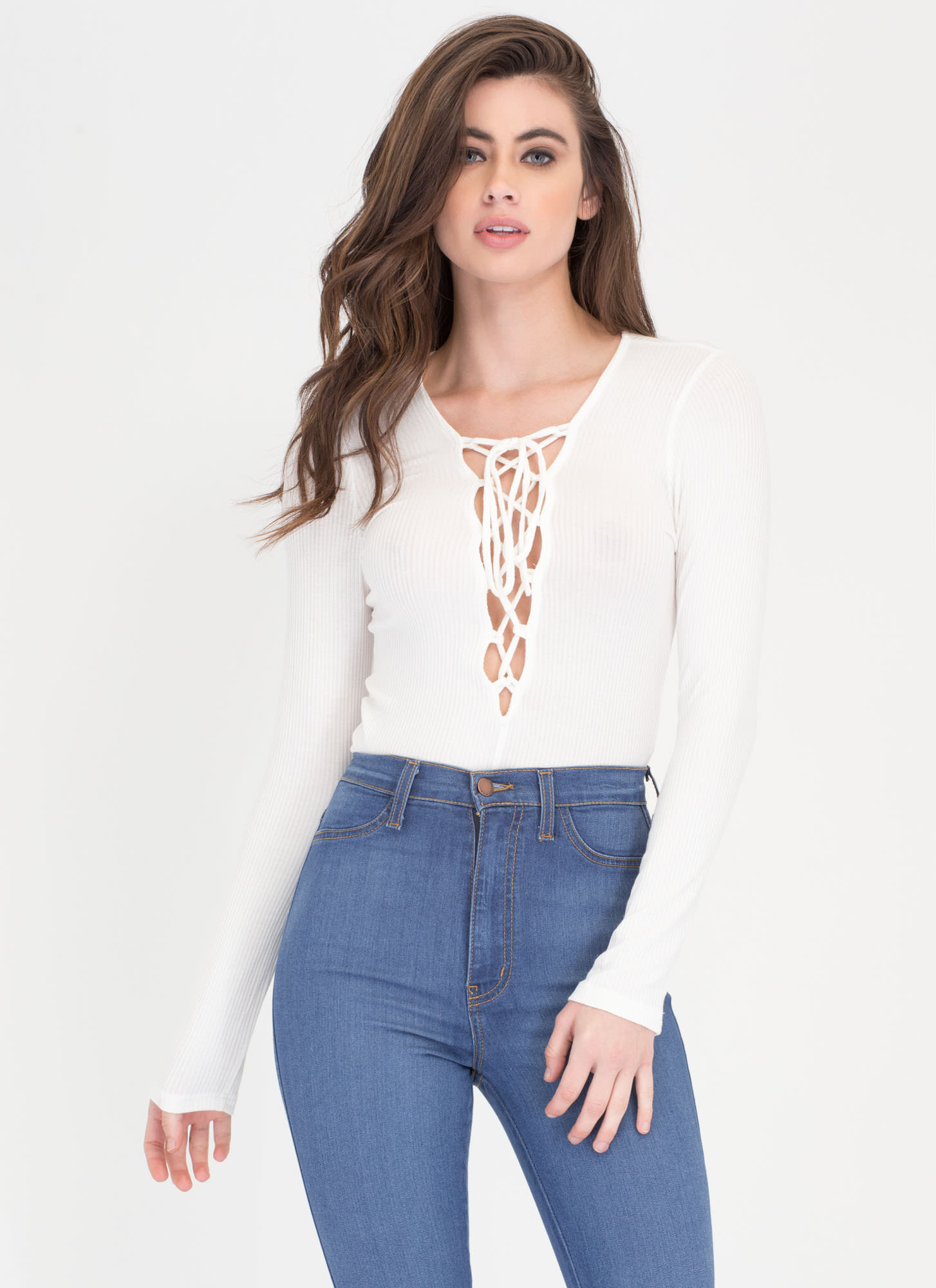 On Call Ribbed Lace-Up Thong Bodysuit WHITE
