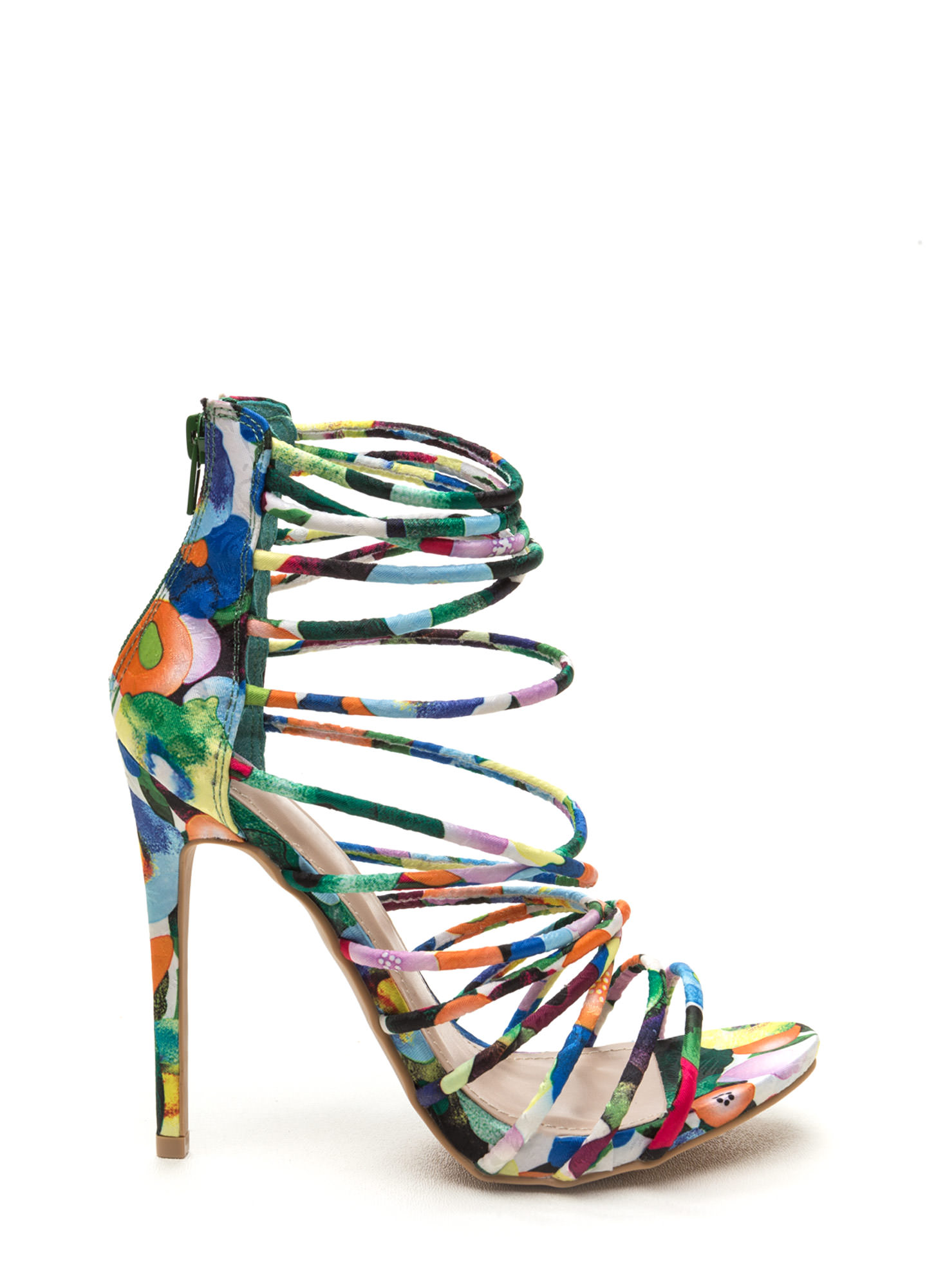 Make A Wish Strappy Floral Heels MULTI