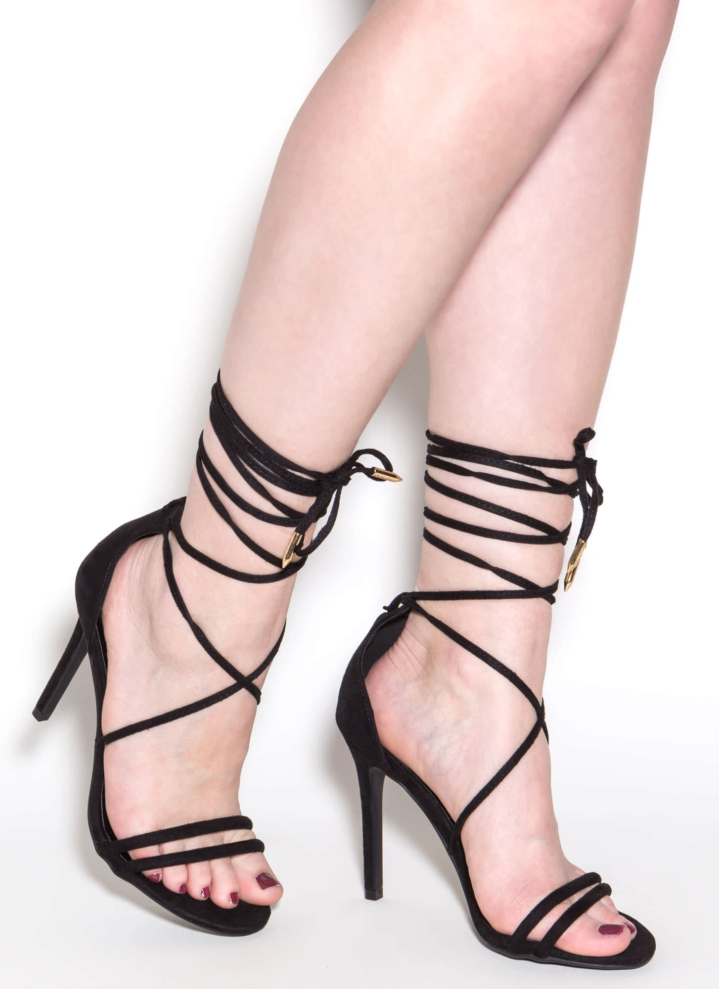 Ride Or Tie Faux Suede Lace-Up Heels BLACK