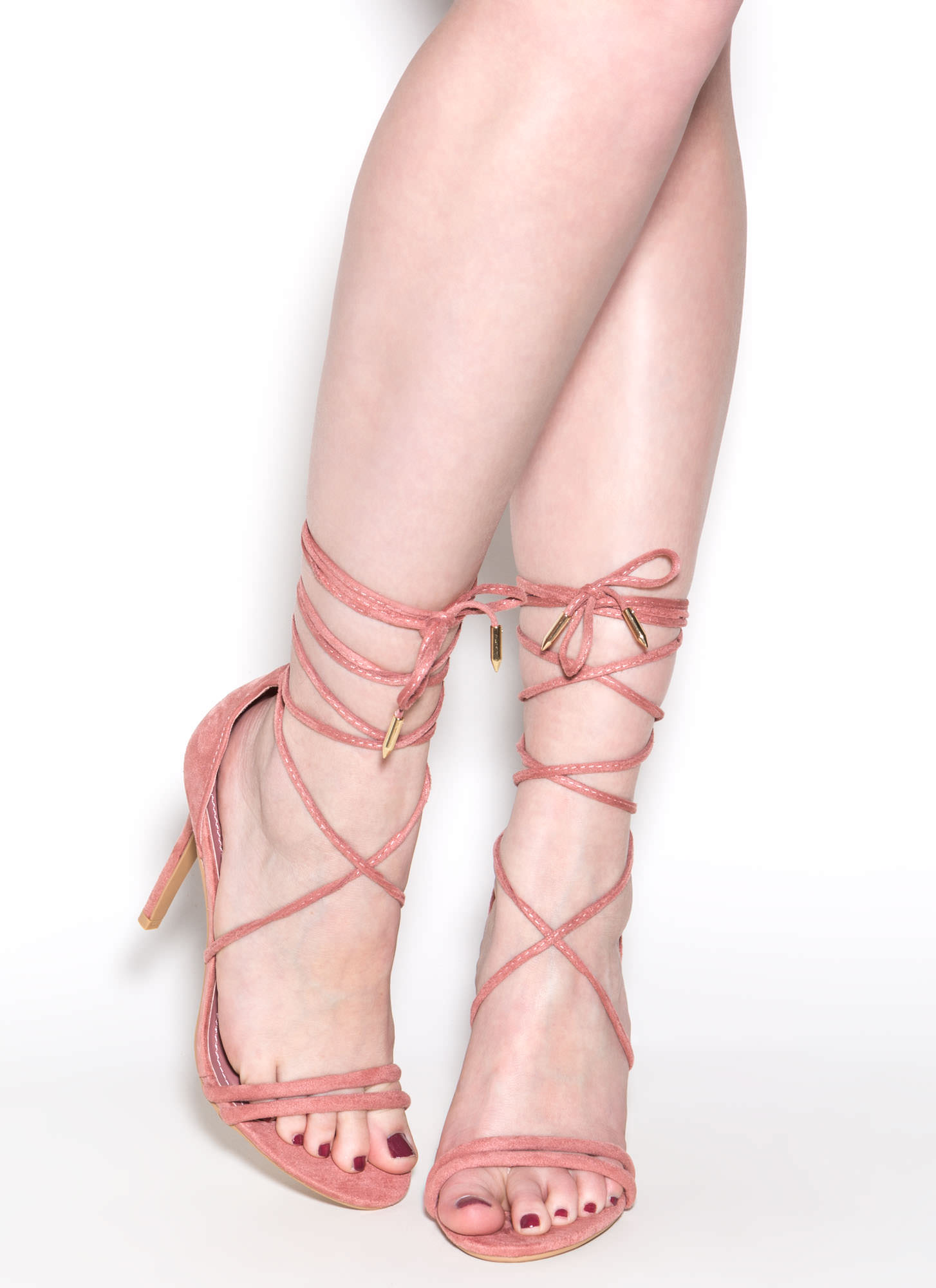 Ride Or Tie Faux Suede Lace-Up Heels BLUSH