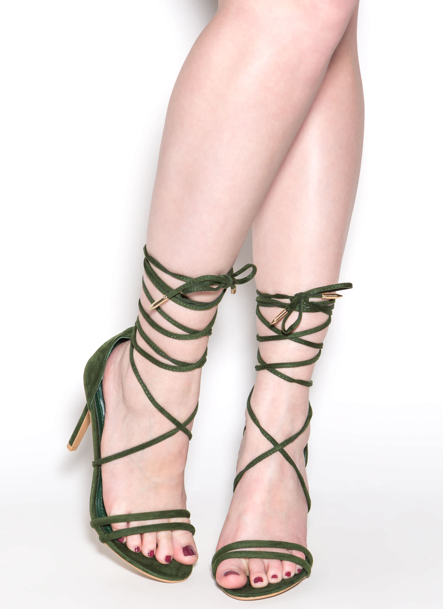 Ride Or Tie Faux Suede Lace-Up Heels HUNTERGREEN