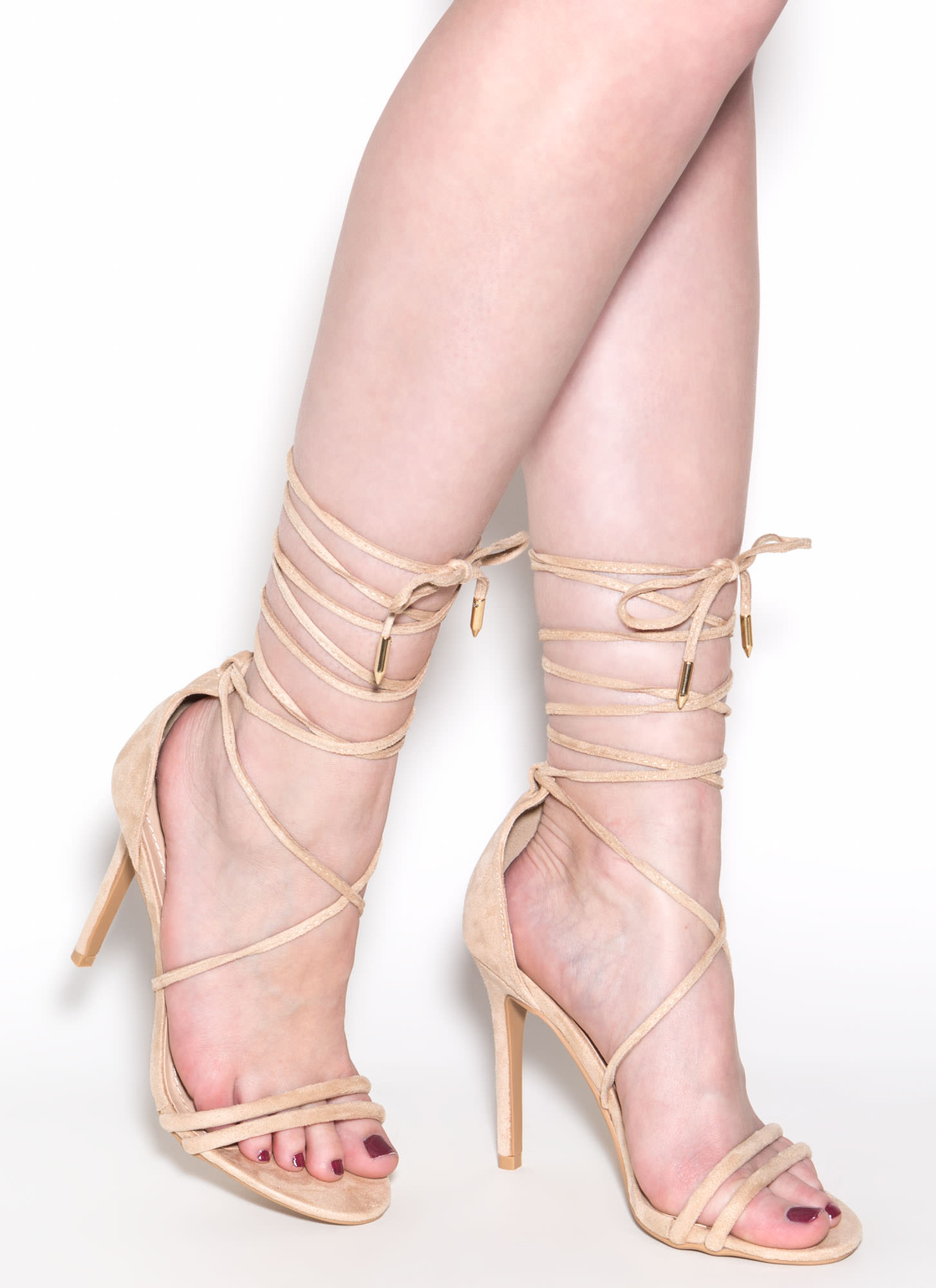Ride Or Tie Faux Suede Lace-Up Heels NUDE