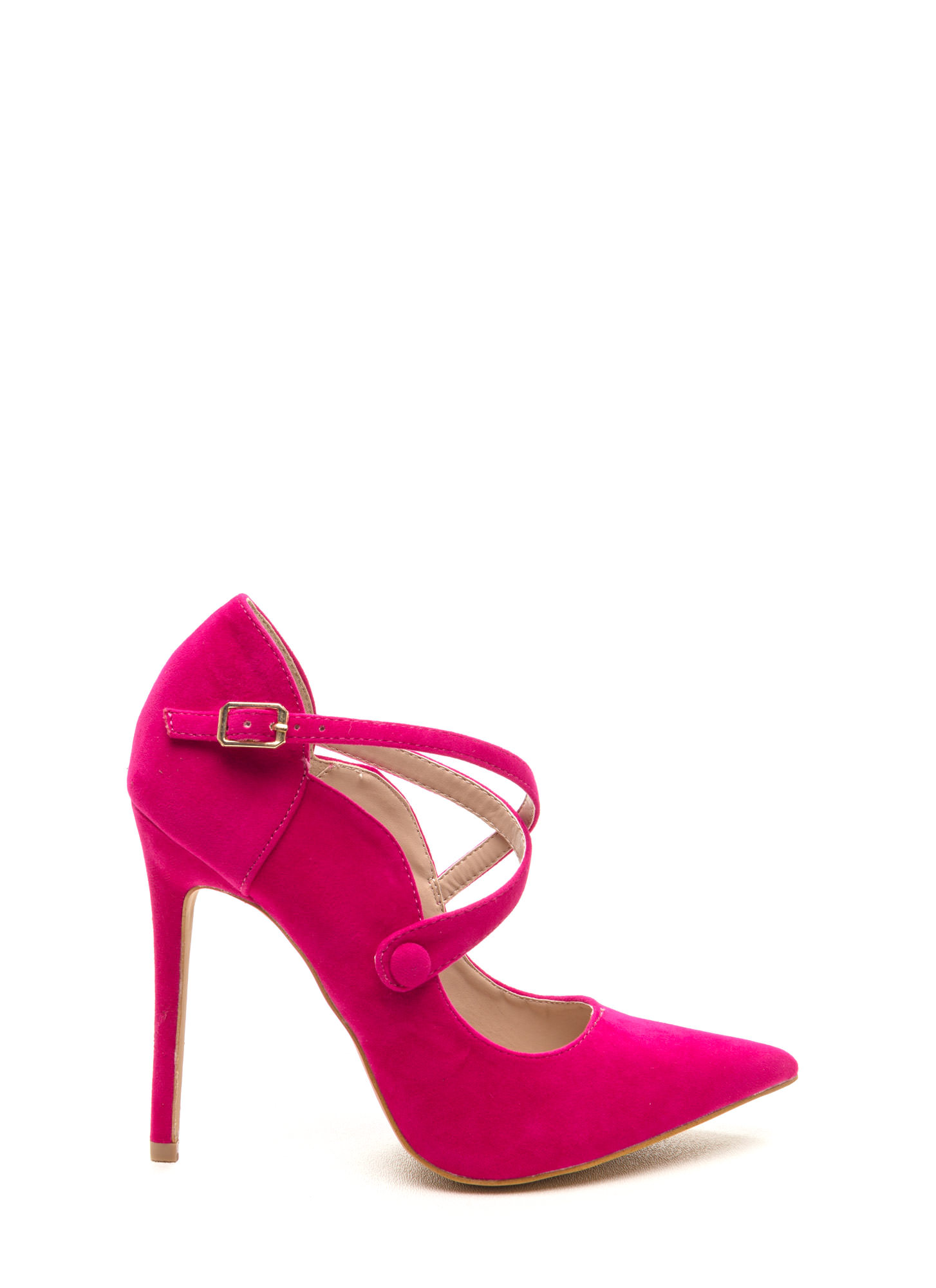 Any Event Faux Suede Crisscross Heels FUCHSIA