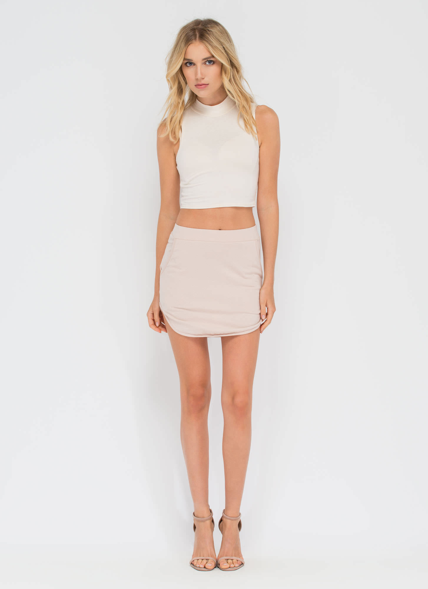 Round The Horn Cotton Miniskirt MOCHA