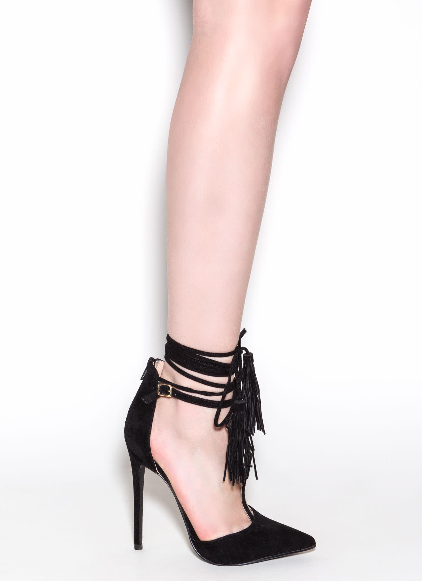 T-Strap Time Faux Suede Pointy Heels BLACK