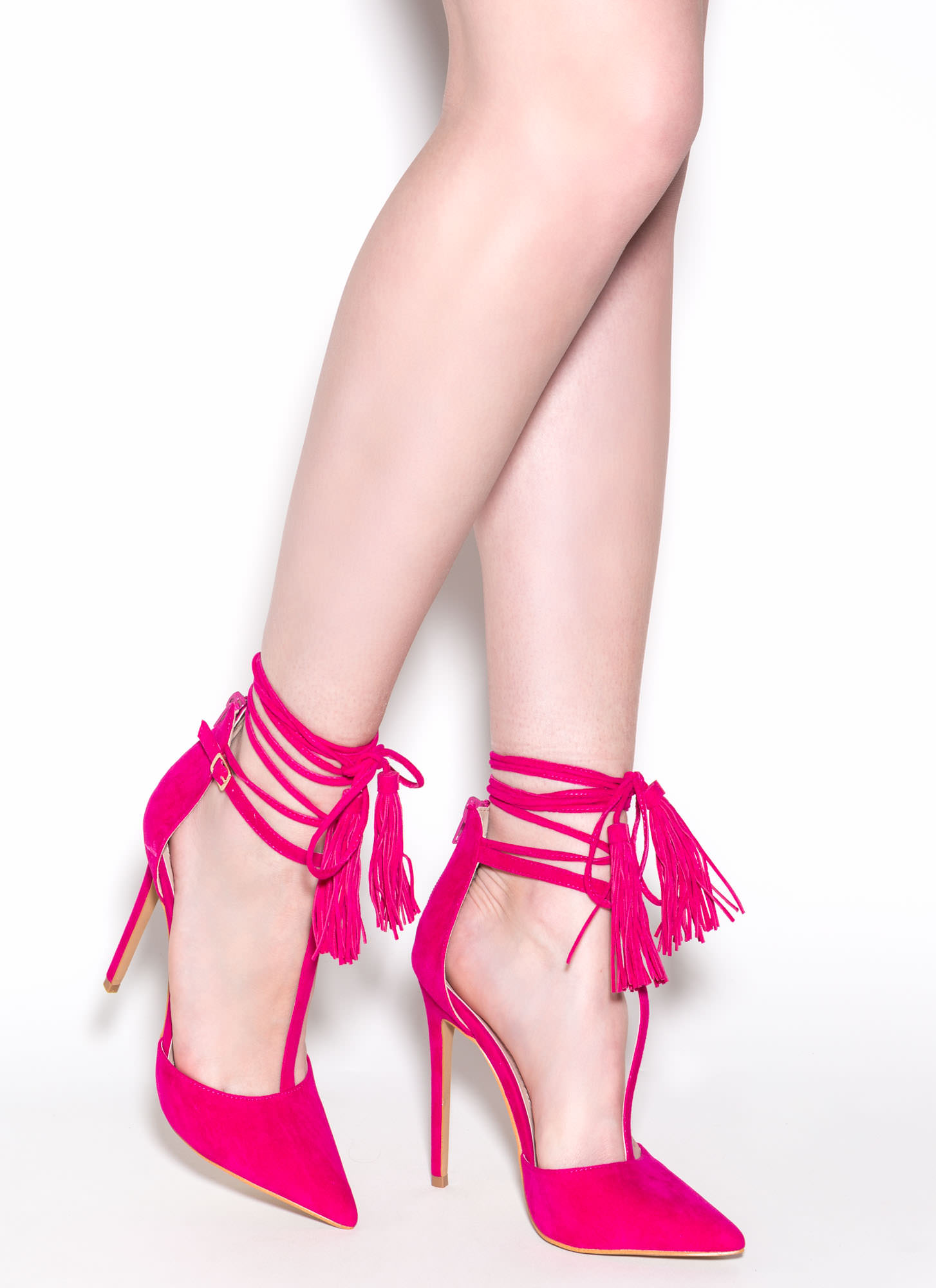 T-Strap Time Faux Suede Pointy Heels FUCHSIA