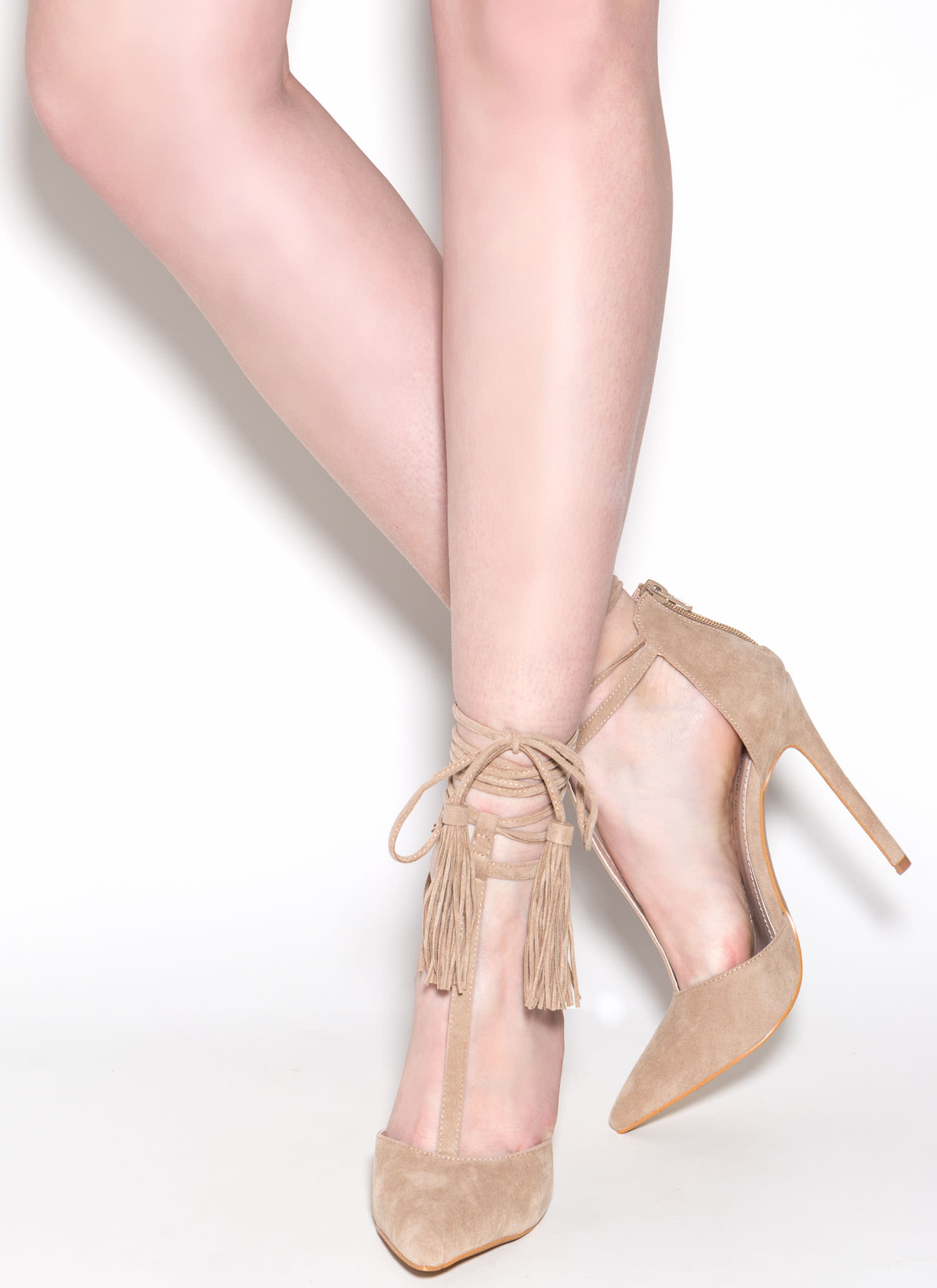 T-Strap Time Faux Suede Pointy Heels NUDE
