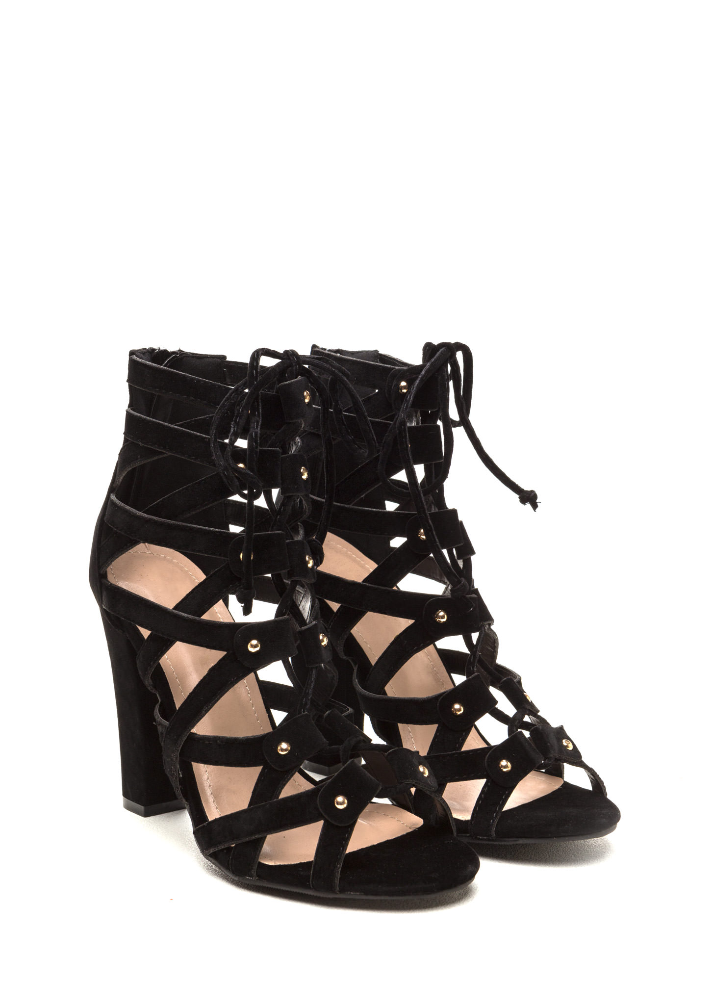 Eyes On The Prize Faux Suede Heels BLACK