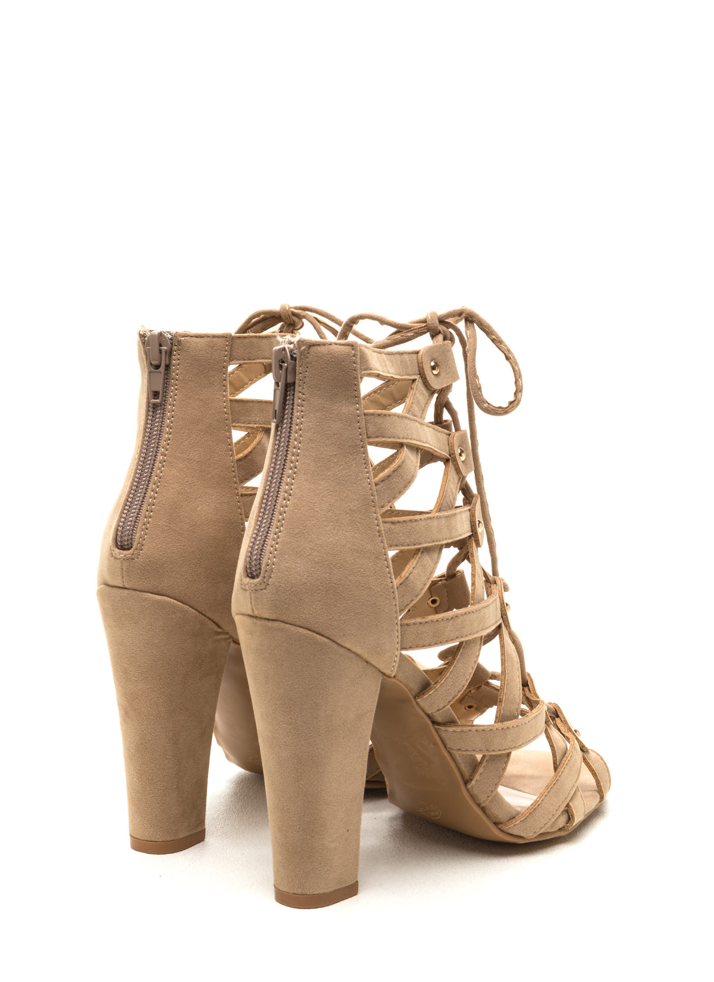 Eyes On The Prize Faux Suede Heels NUDE
