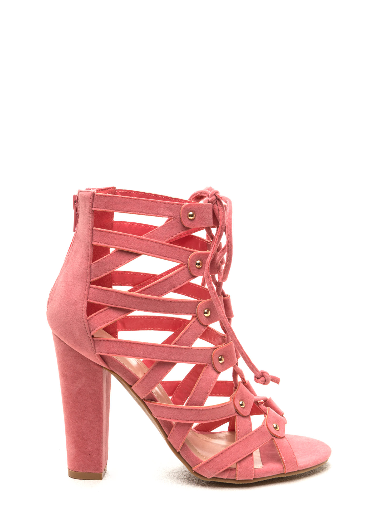 Eyes On The Prize Faux Suede Heels PINK