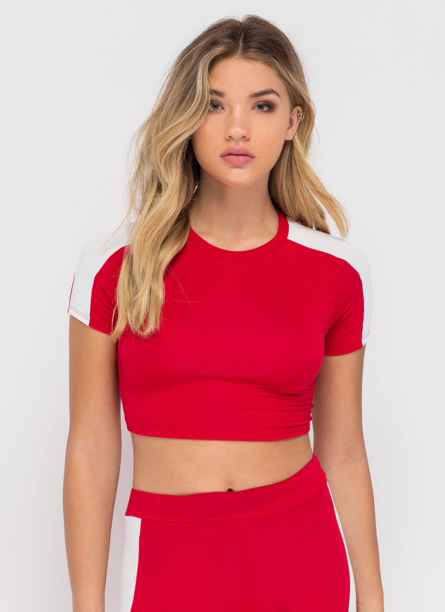 Panel Play Contrast Crop Top REDWHITE