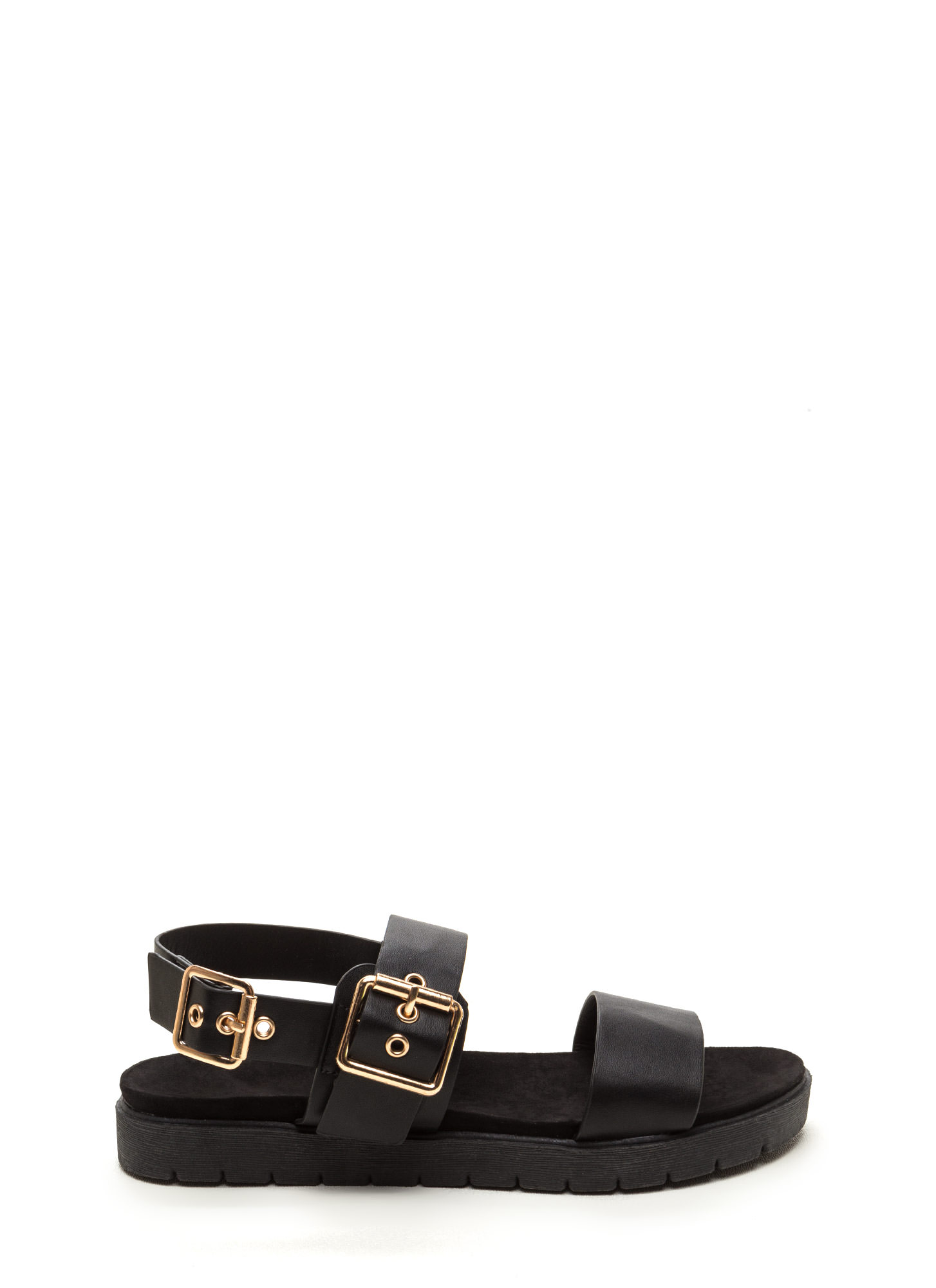 All Day Event Strappy Flatform Sandals BLACK
