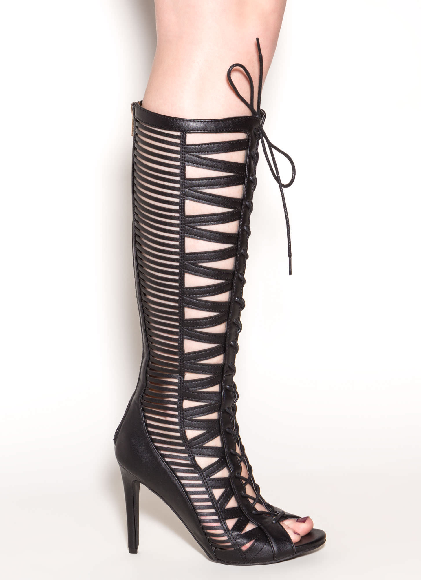 Make The Cut-Out Gladiator Heels BLACK