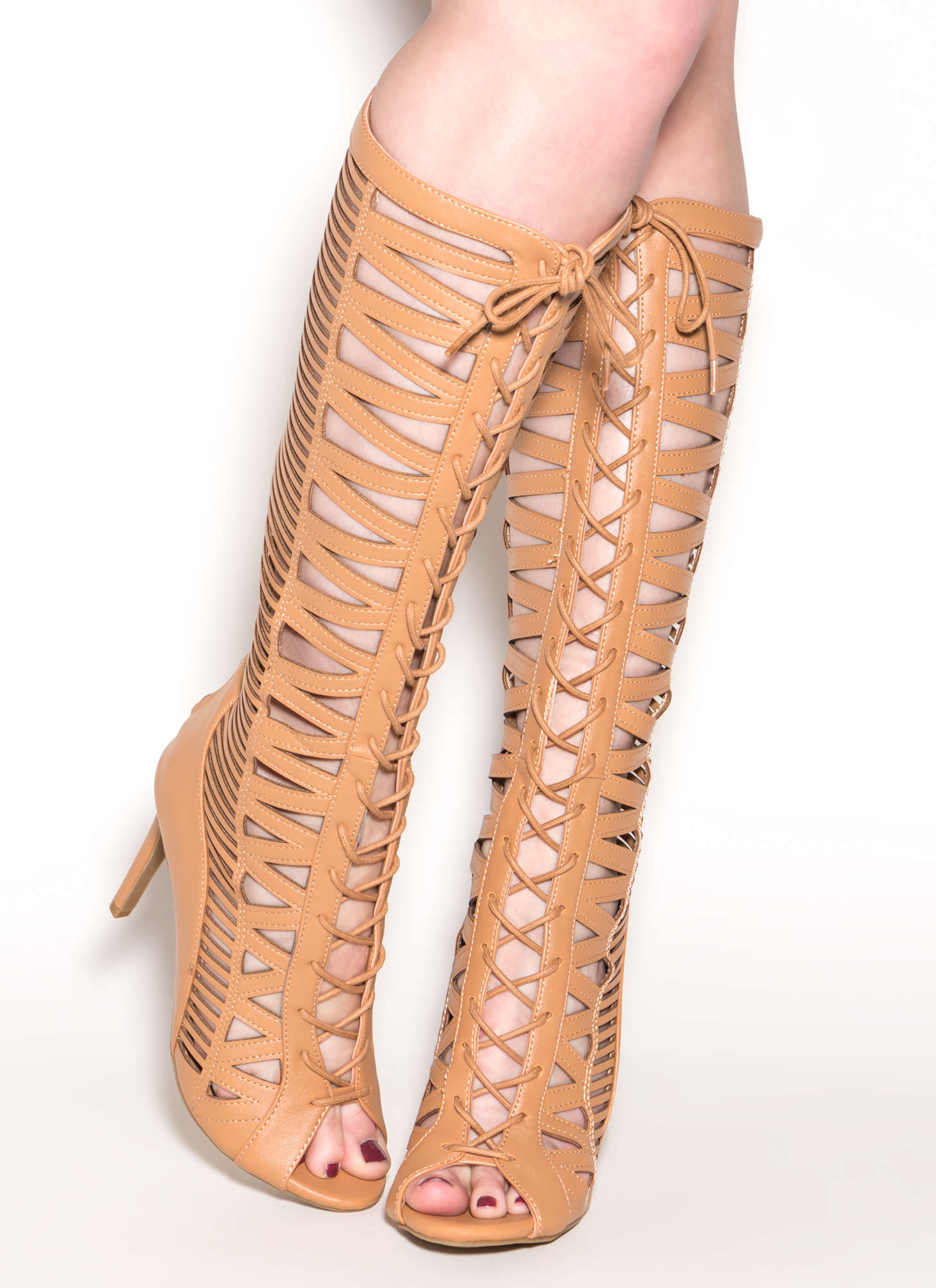 Make The Cut-Out Gladiator Heels NATURAL