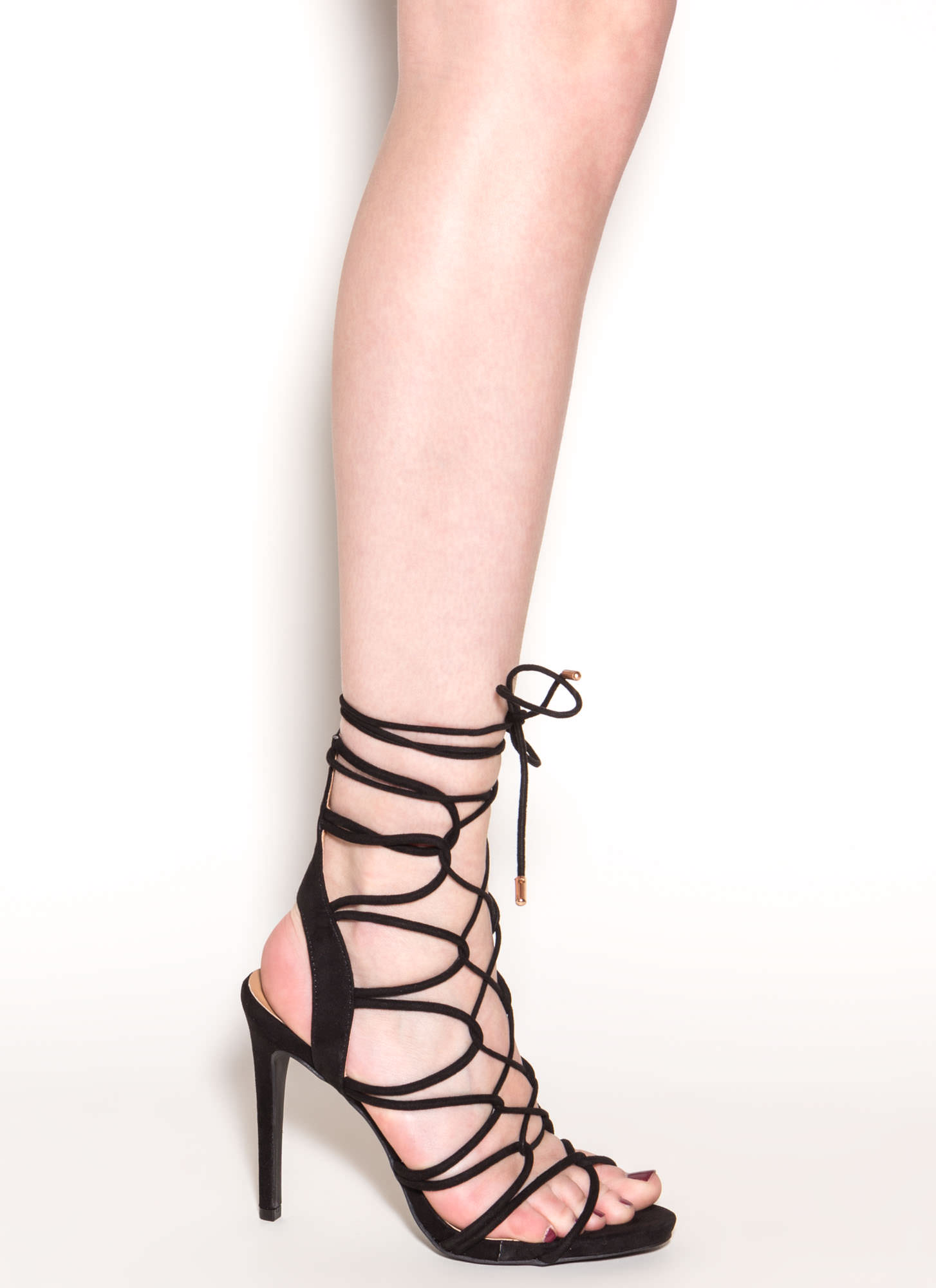 On A Loop Strappy Faux Suede Heels BLACK