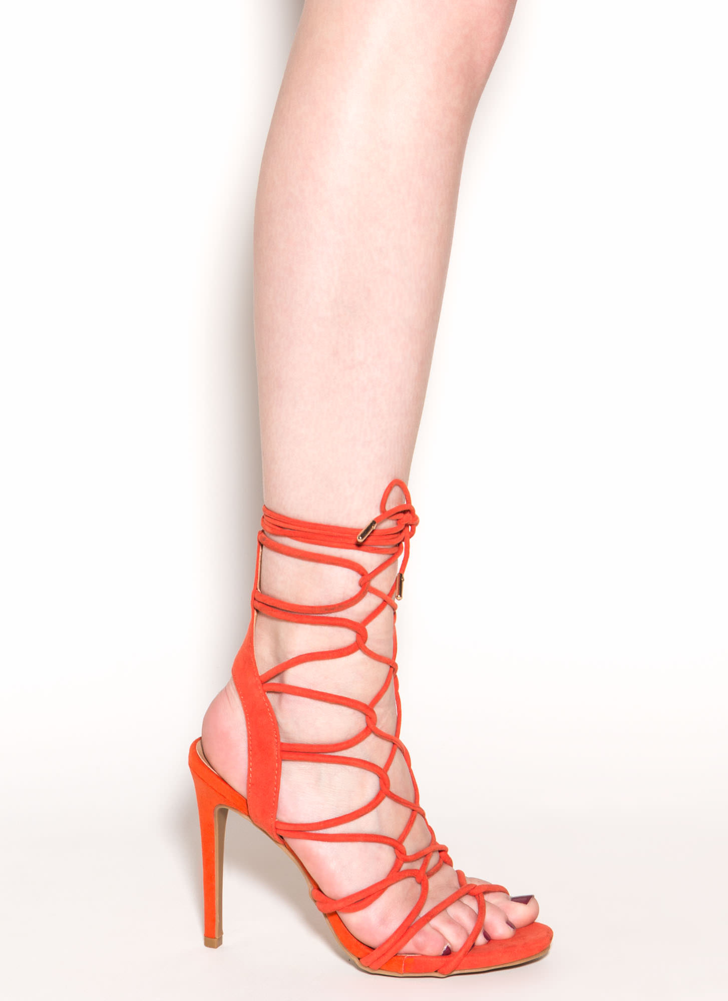 On A Loop Strappy Faux Suede Heels ORANGE