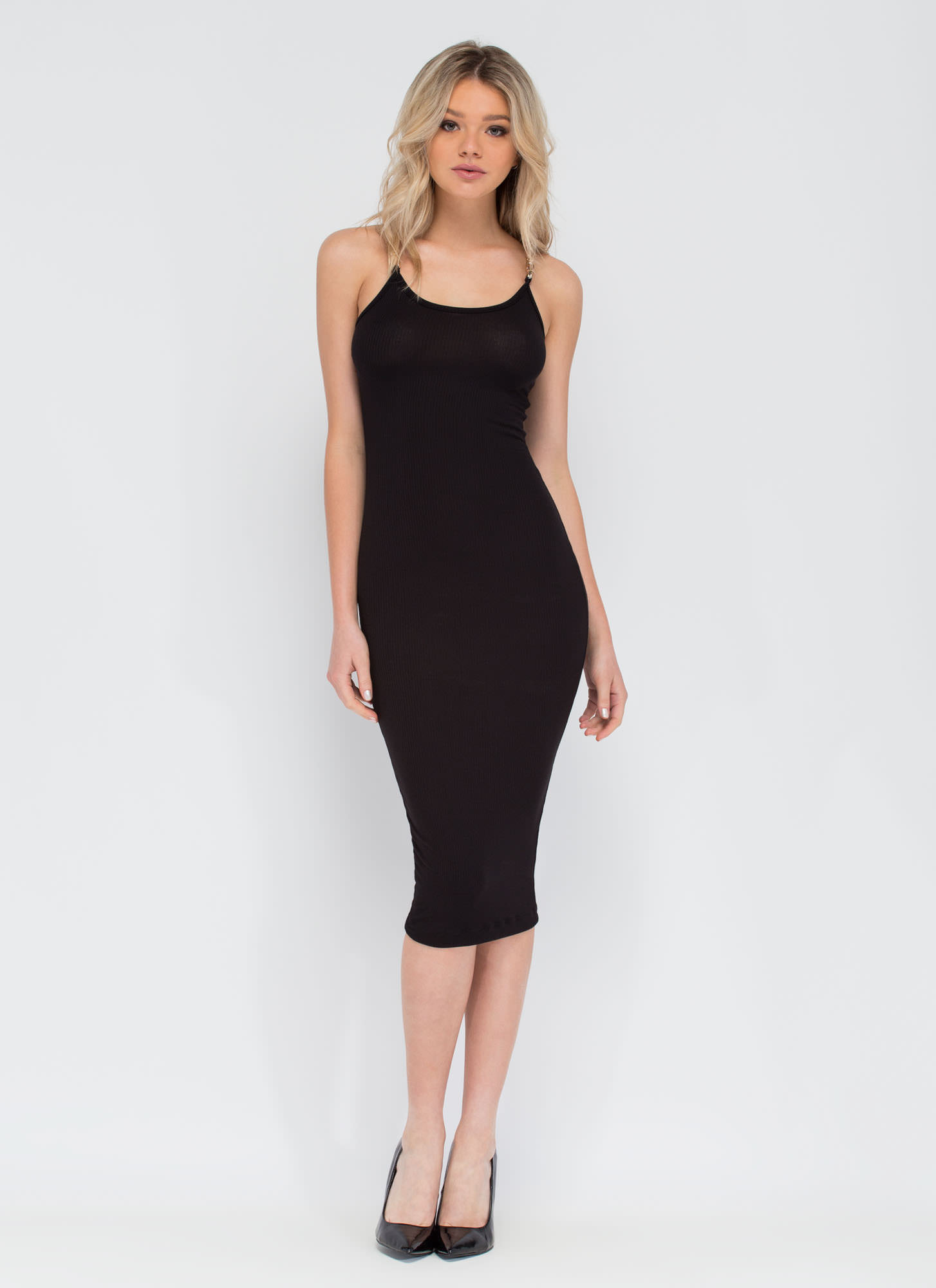 Chain Of My Existence Ribbed Midi Dress BLACK