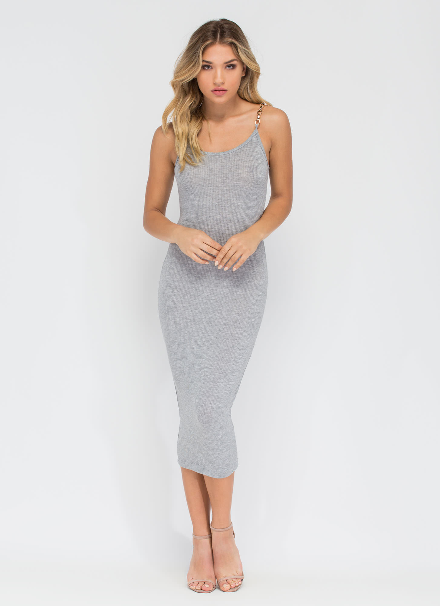 Chain Of My Existence Ribbed Midi Dress HGREY