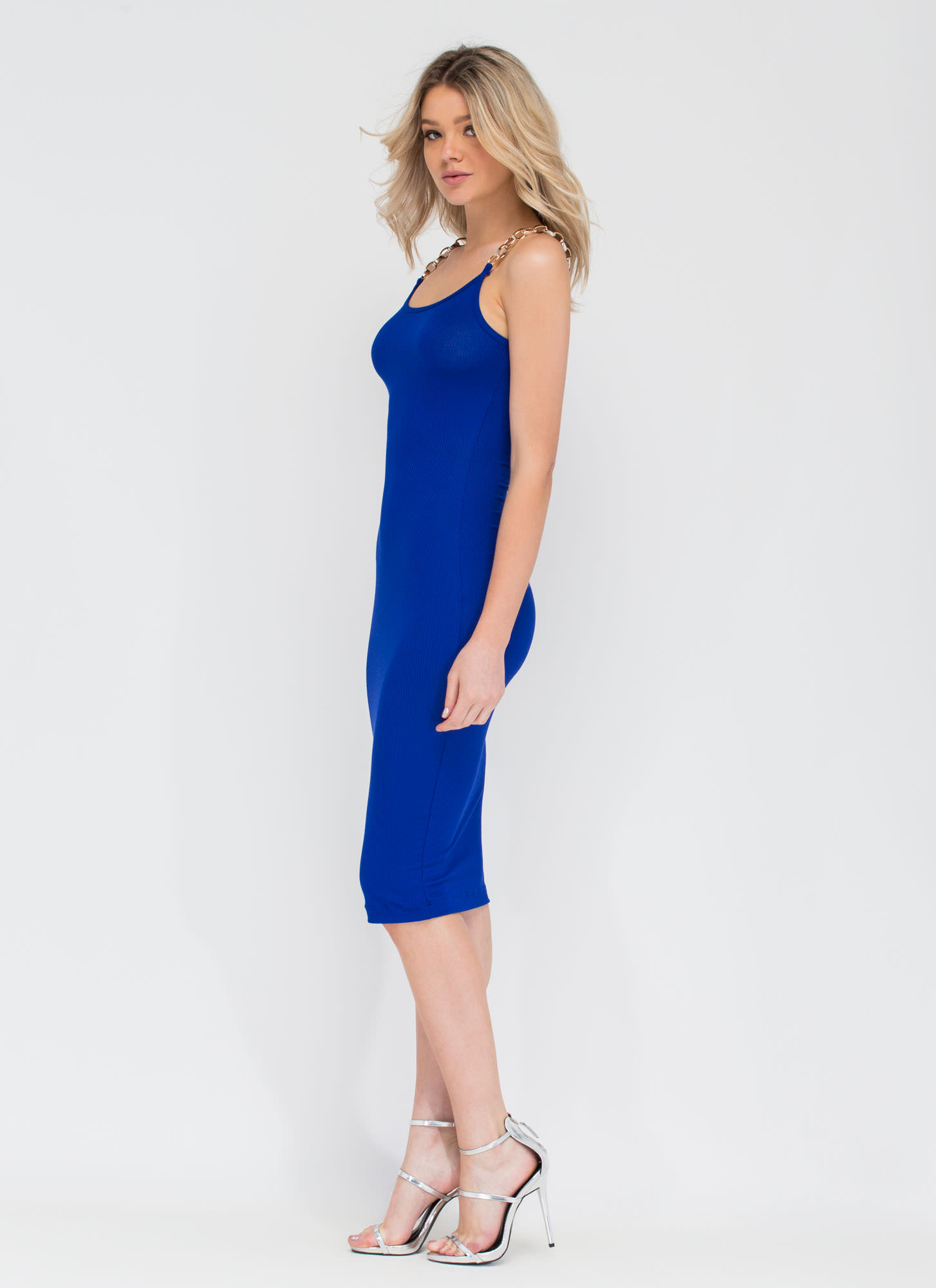 Chain Of My Existence Ribbed Midi Dress ROYAL
