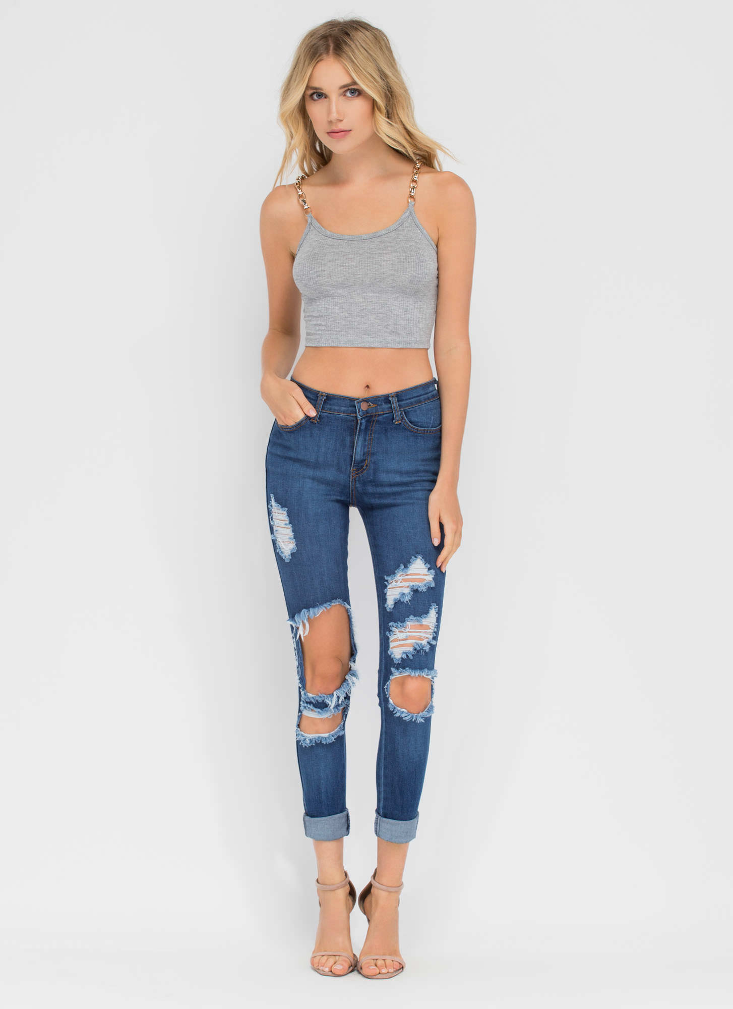 Chain Of My Existence Ribbed Crop Top HGREY