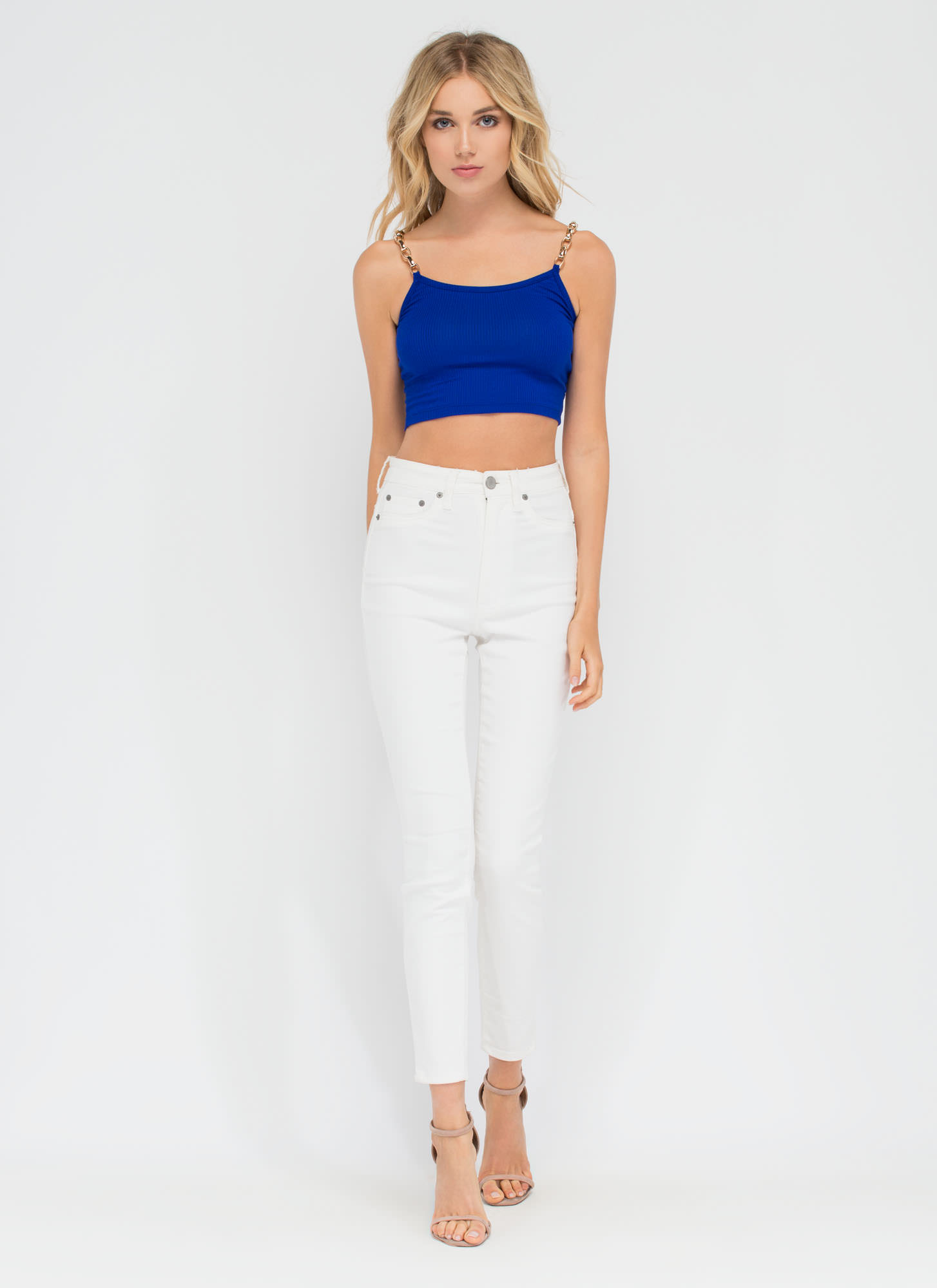 Chain Of My Existence Ribbed Crop Top ROYAL