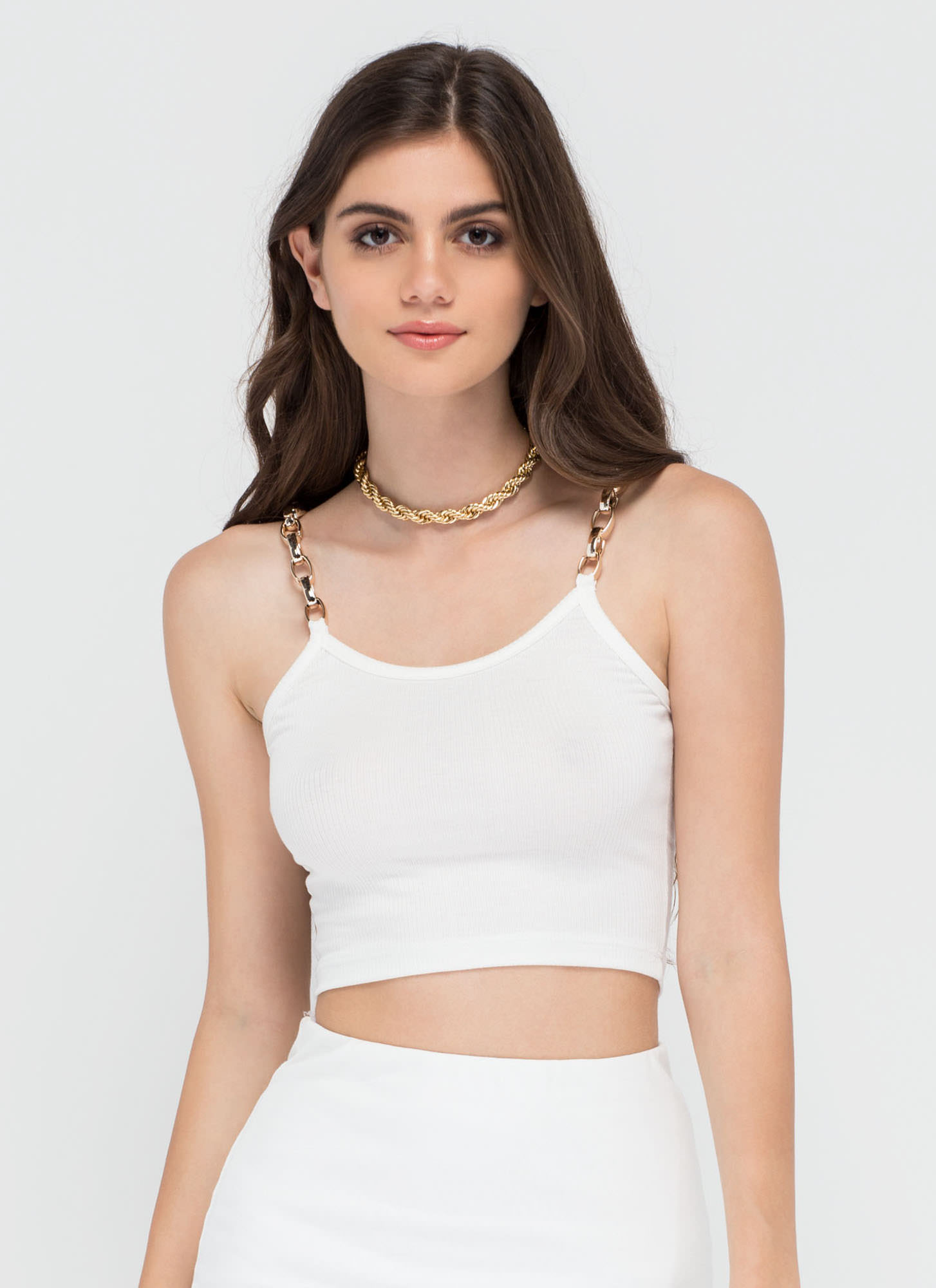 Chain Of My Existence Ribbed Crop Top WHITE