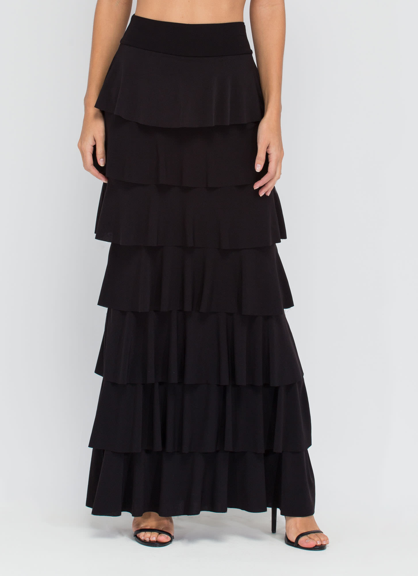 Burst Into Tiers Ruffled Maxi Skirt BLACK