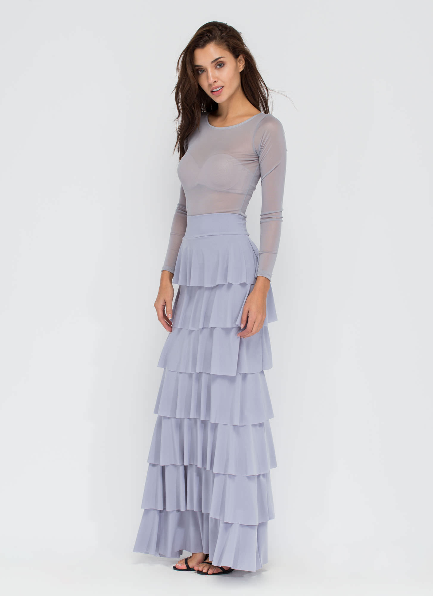 Burst Into Tiers Ruffled Maxi Skirt GREY