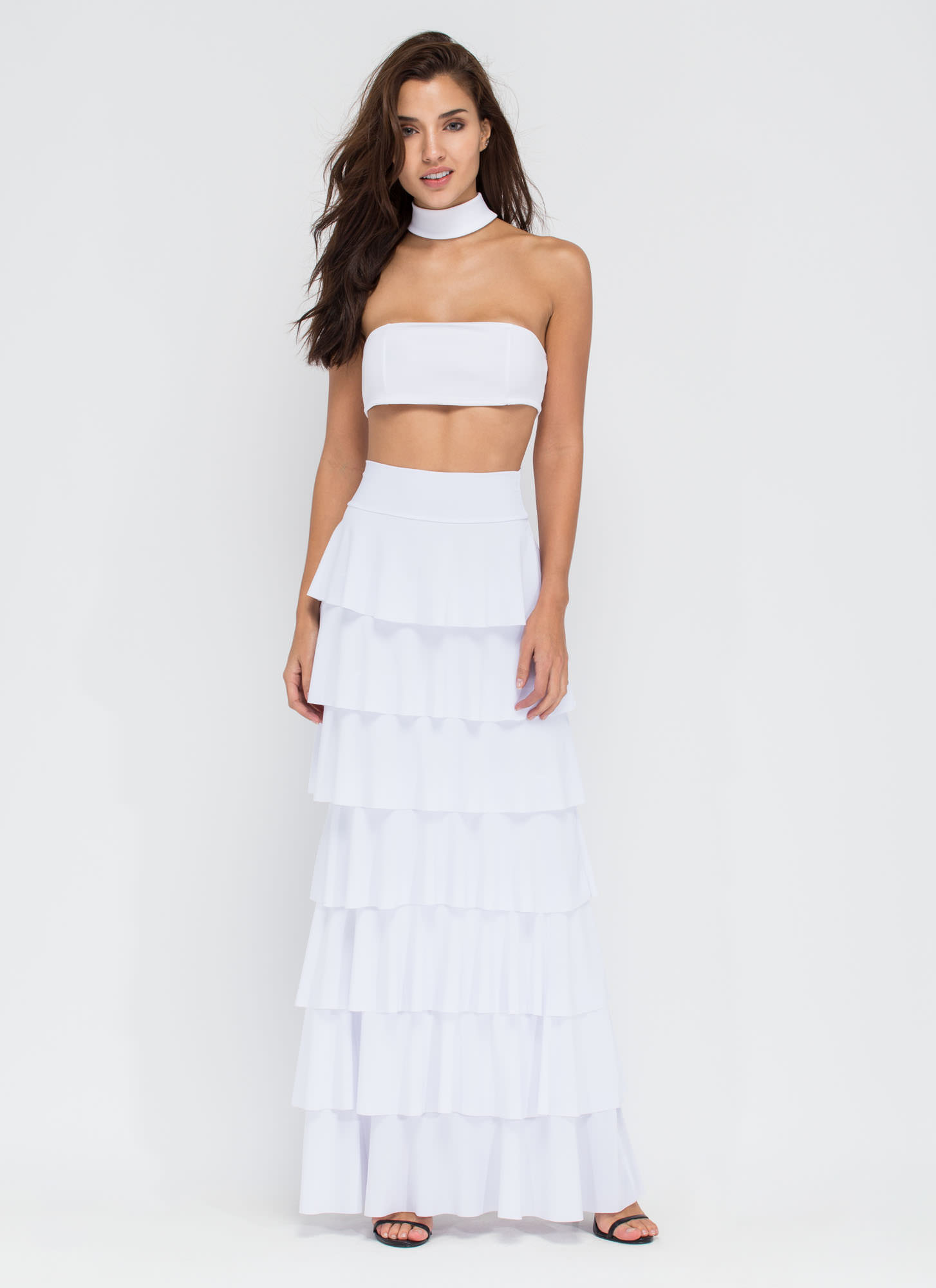 Burst Into Tiers Ruffled Maxi Skirt WHITE