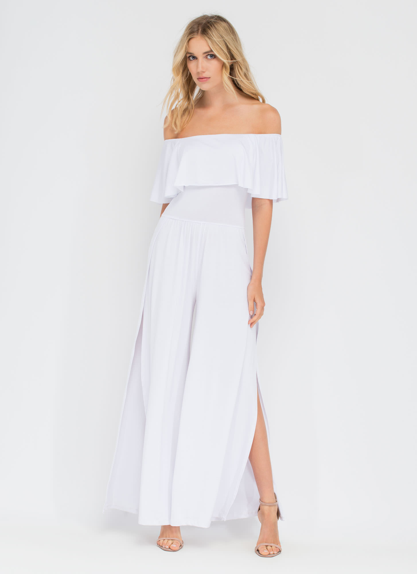 Flowing Palazzo Off-Shoulder Jumpsuit WHITE