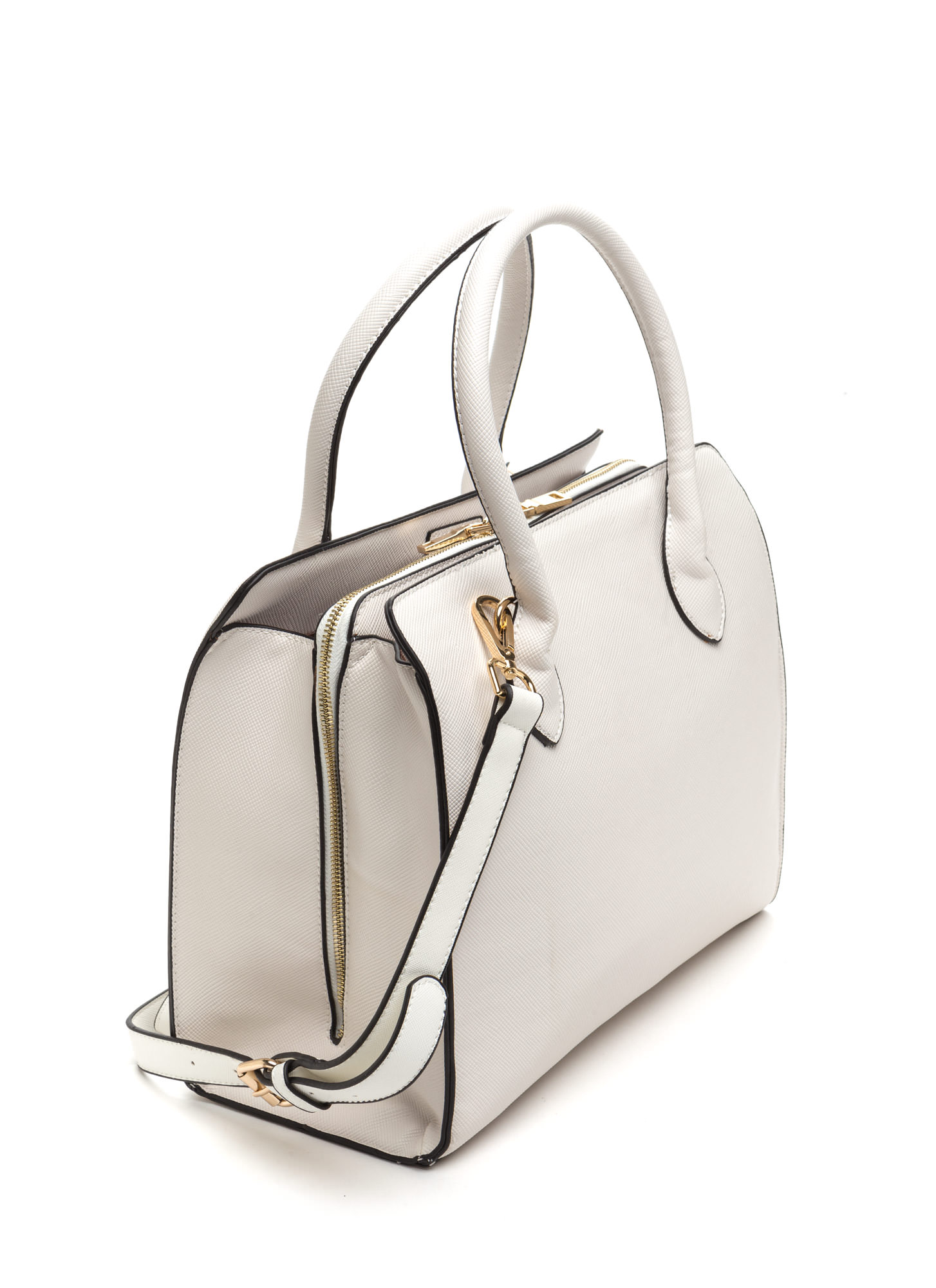 Daily Commute Ziparound Faux Leather Bag WHITE