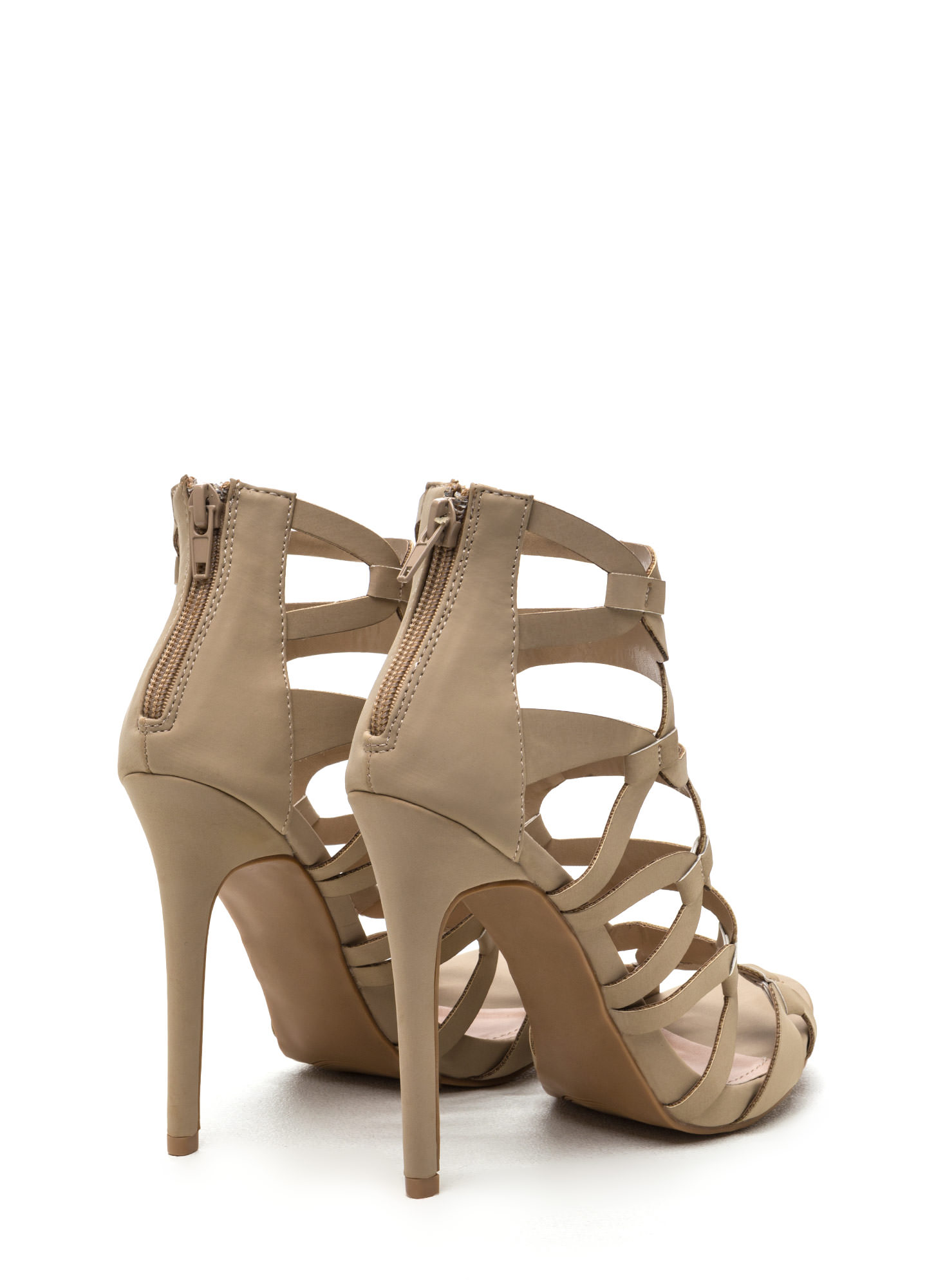 Confidence Boost Faux Nubuck Caged Heels NUDE