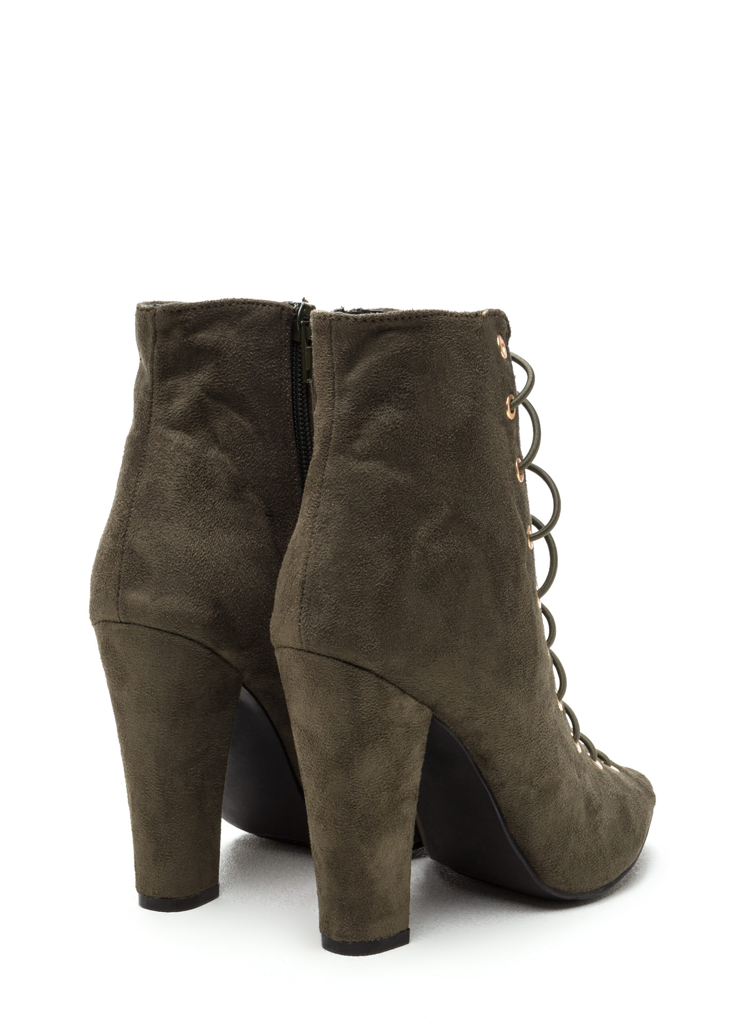 Step Out Faux Suede Lace-Up Chunky Heels OLIVE