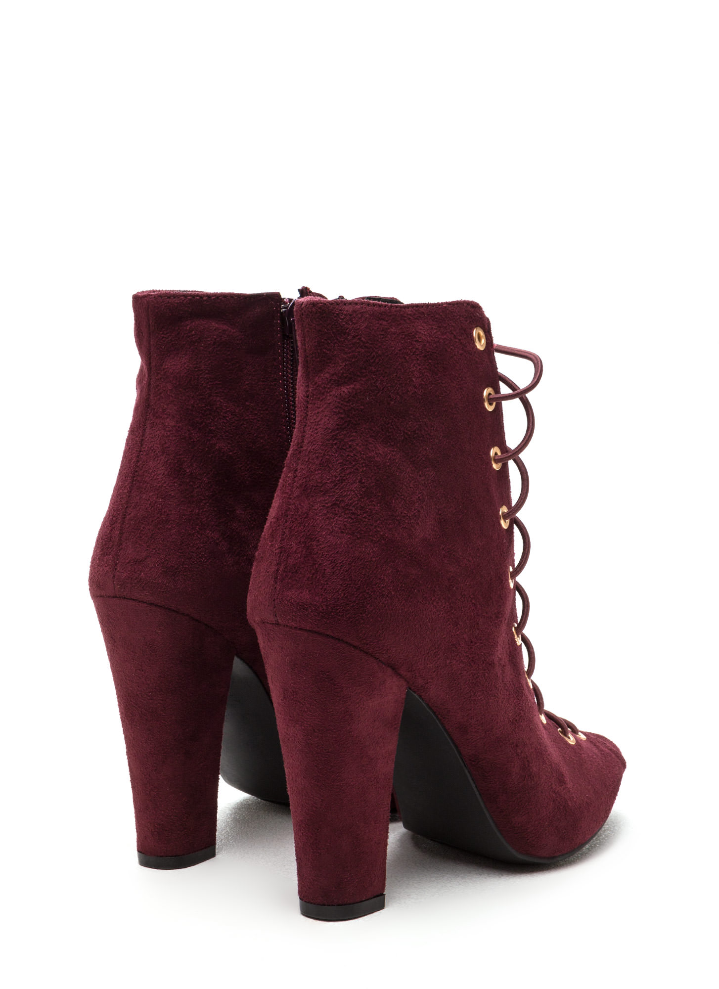 Step Out Faux Suede Lace-Up Chunky Heels WINE