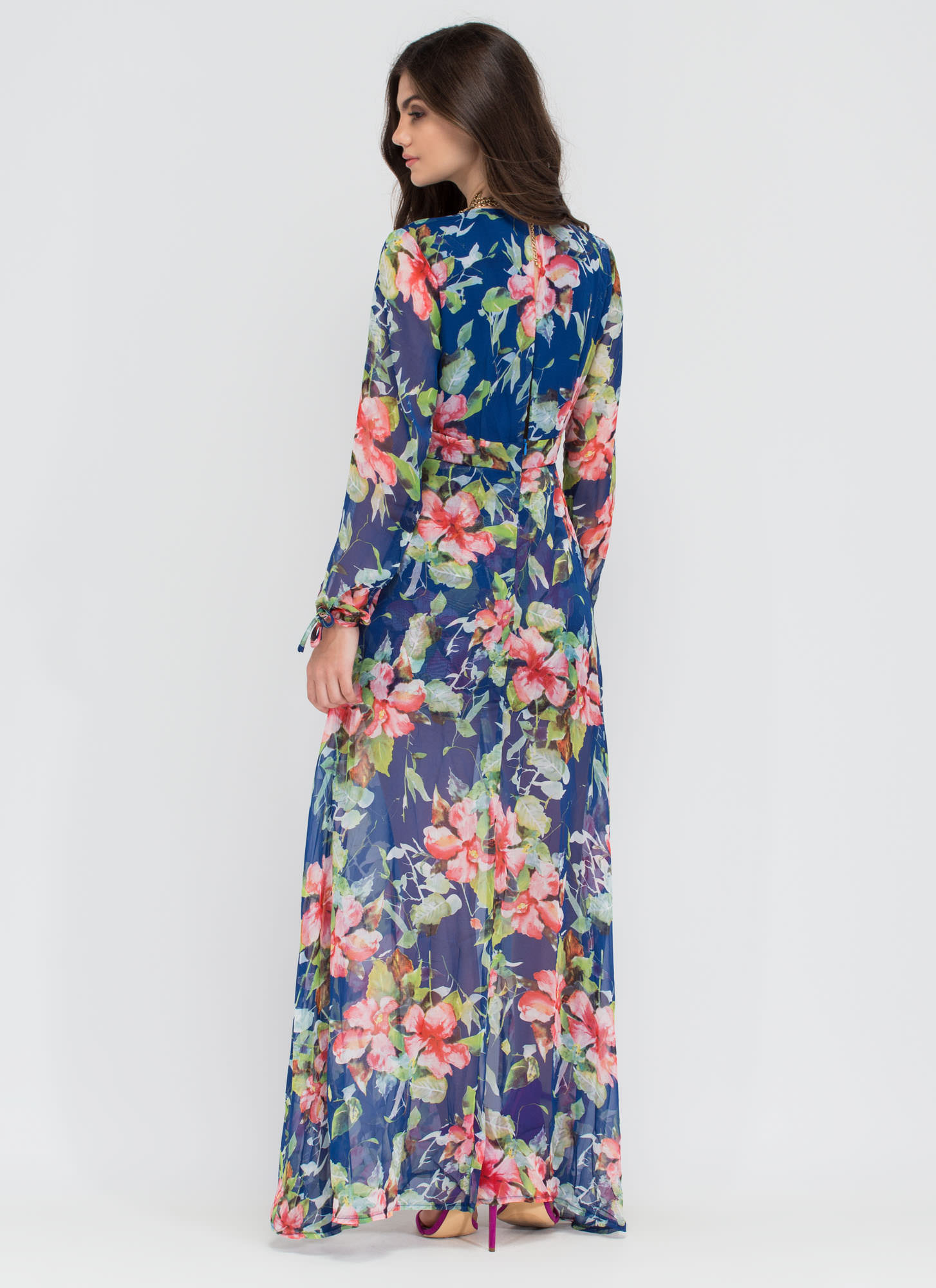 Tropic Flower To The People Chiffon Maxi BLUE