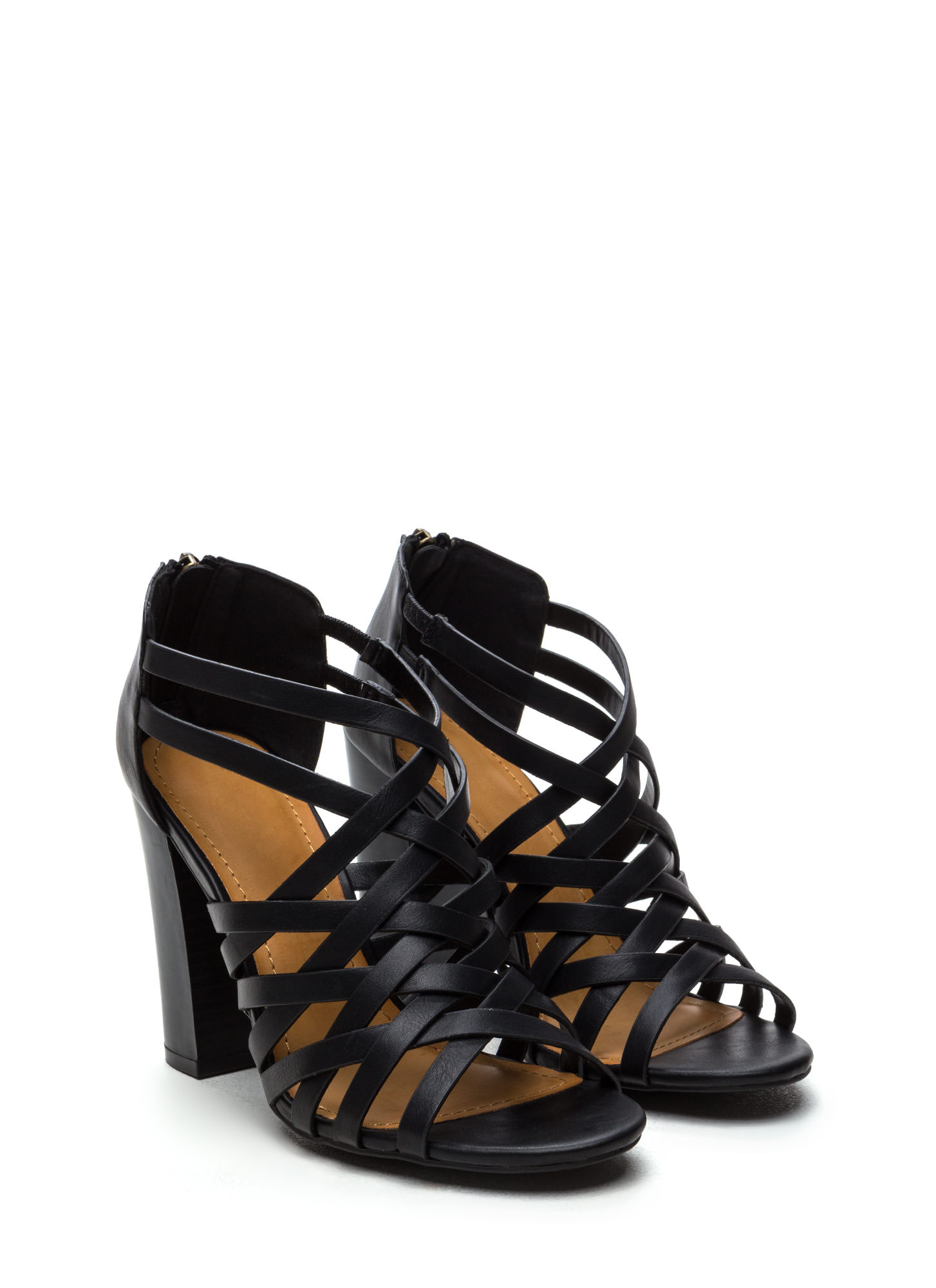 Pull Together Woven Faux Leather Heels BLACK