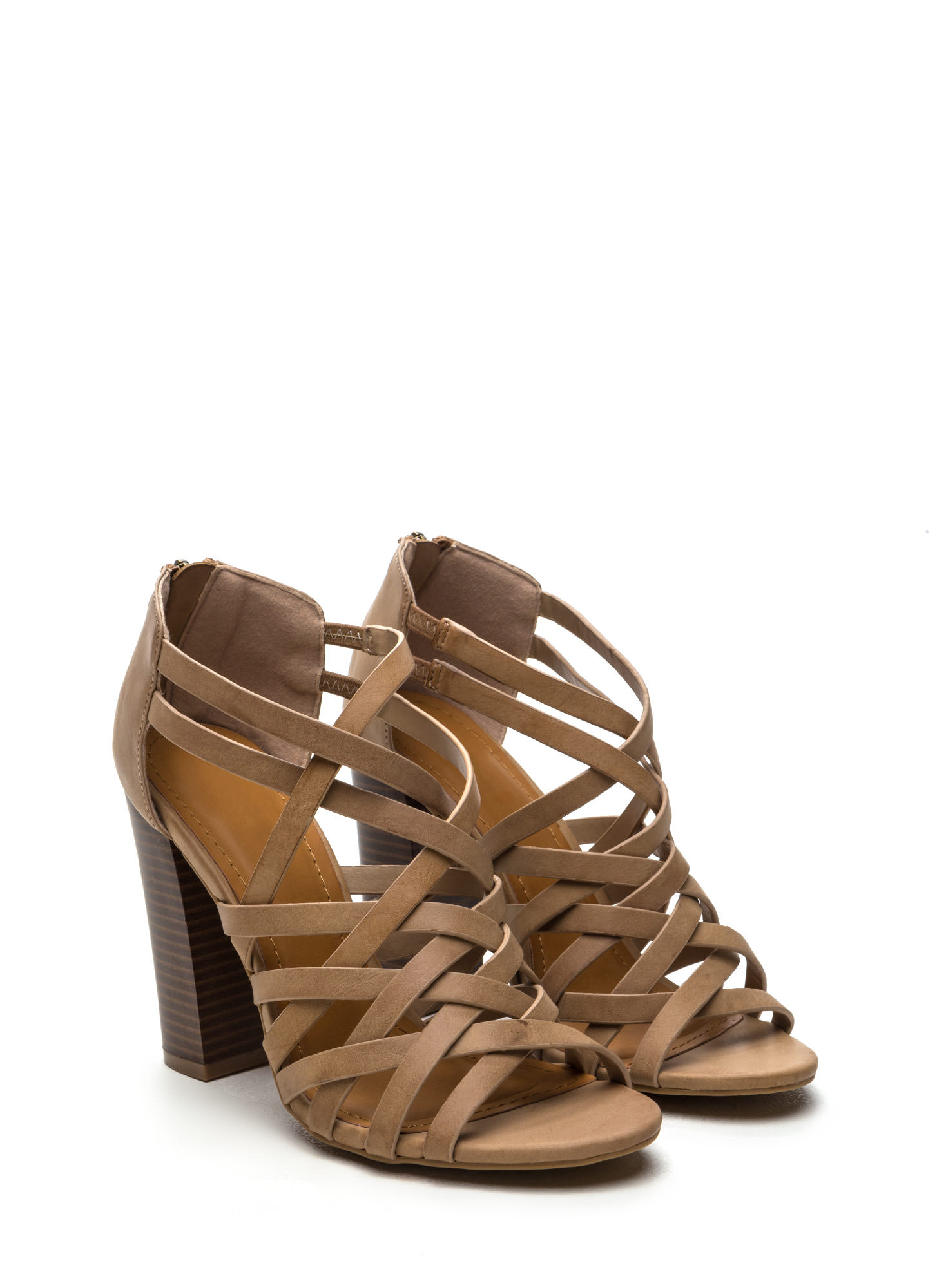 Pull Together Woven Faux Leather Heels NATURAL