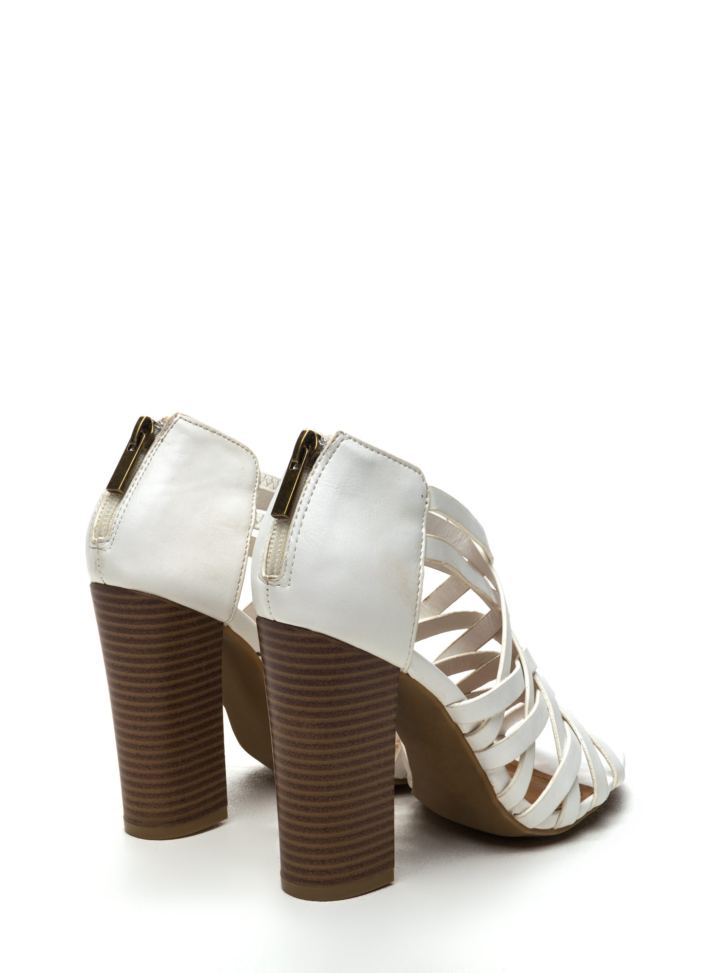 Pull Together Woven Faux Leather Heels WHITE