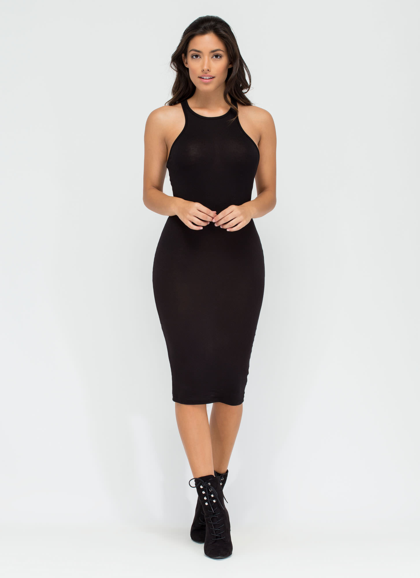 One-Sided Asymmetrical Cut-Out Dress BLACK