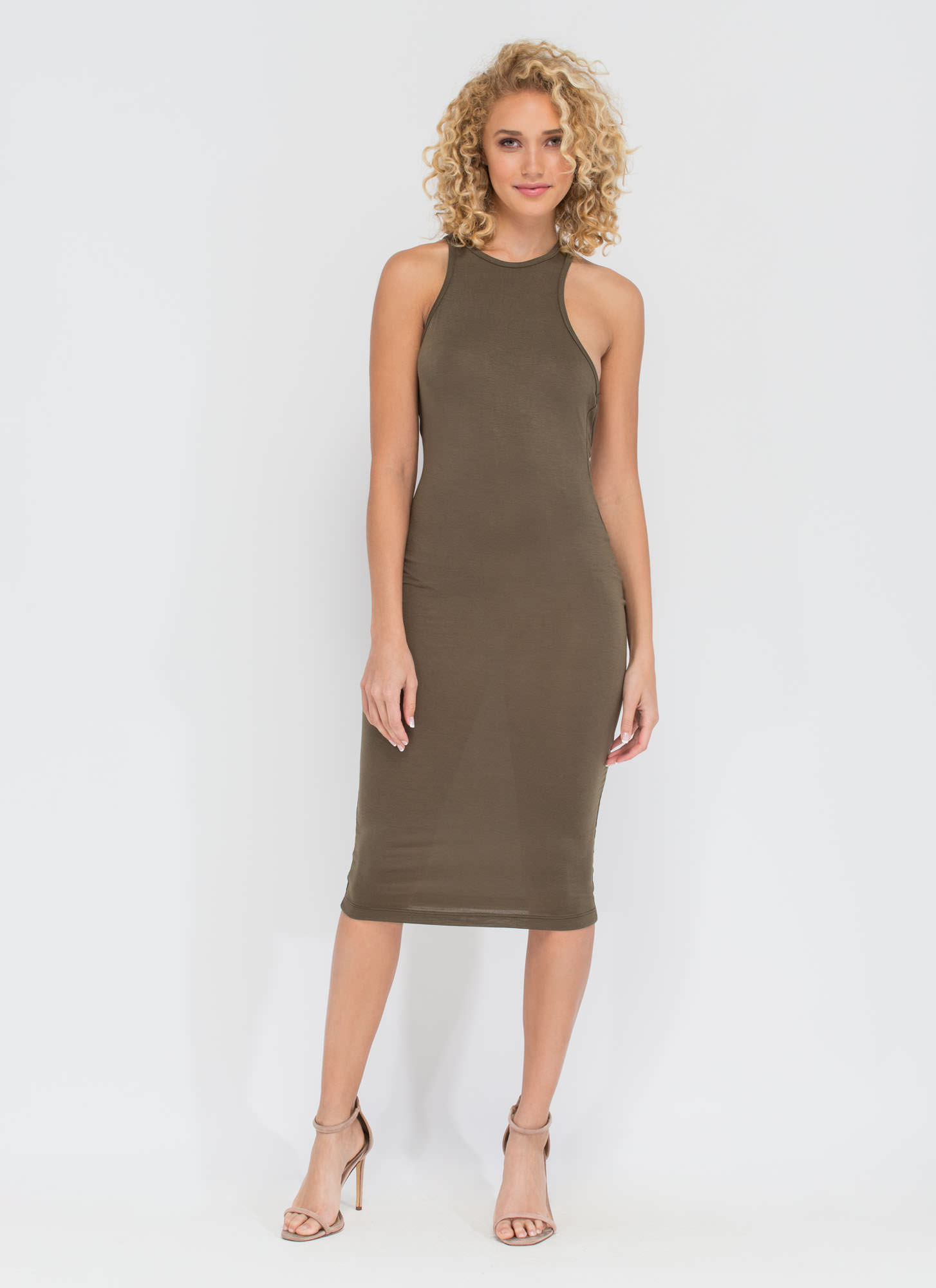 One-Sided Asymmetrical Cut-Out Dress OLIVE