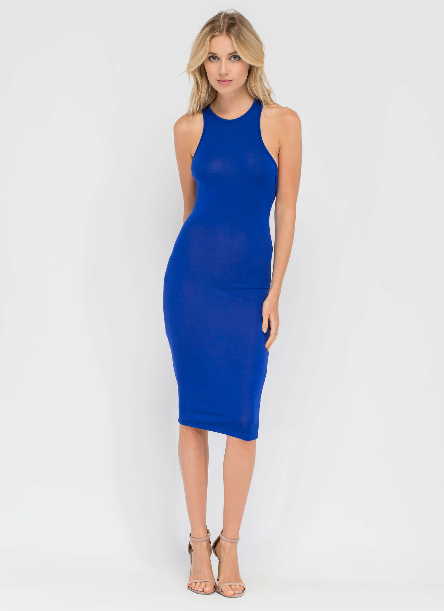 One-Sided Asymmetrical Cut-Out Dress ROYAL