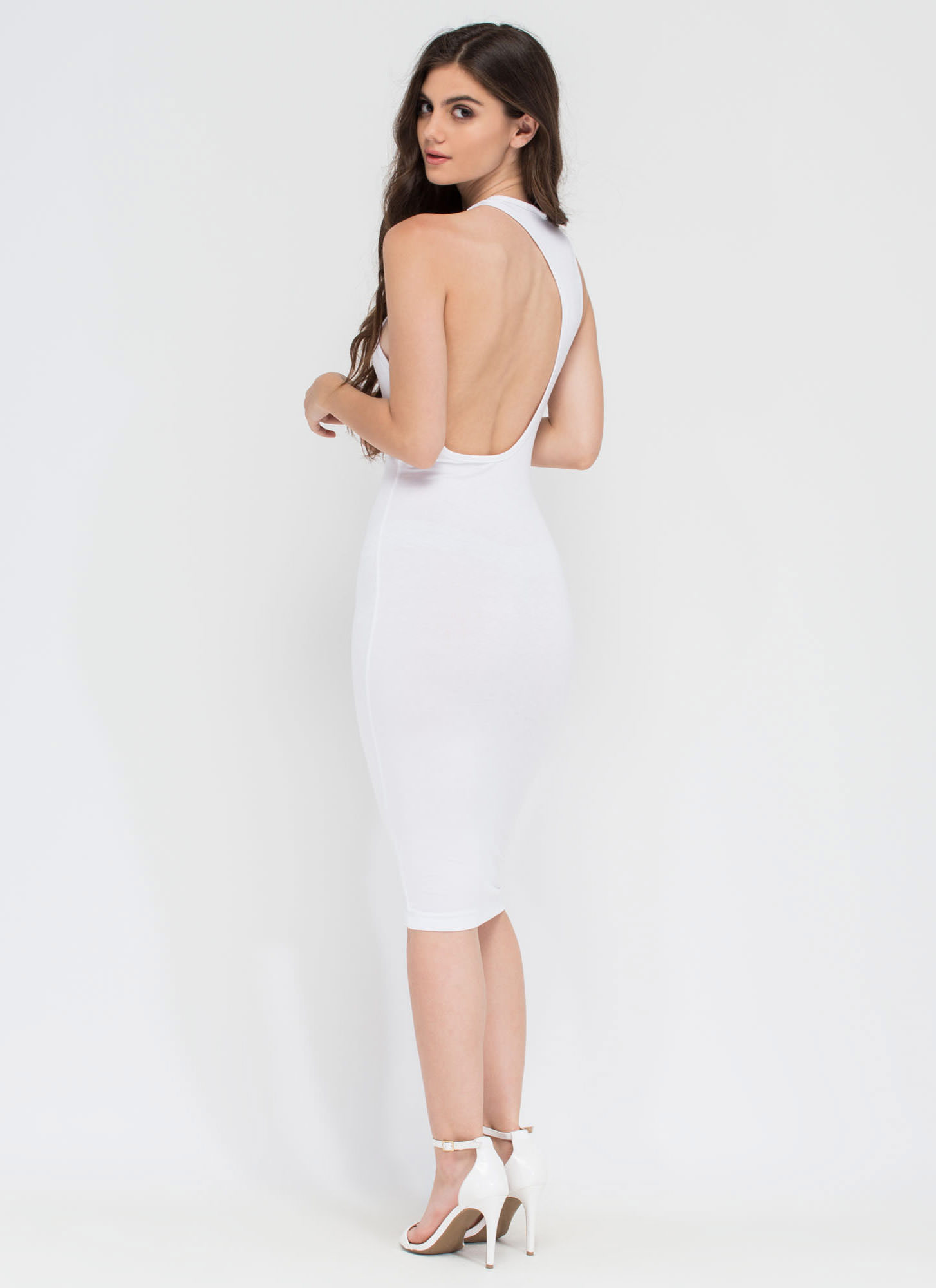 One-Sided Asymmetrical Cut-Out Dress WHITE