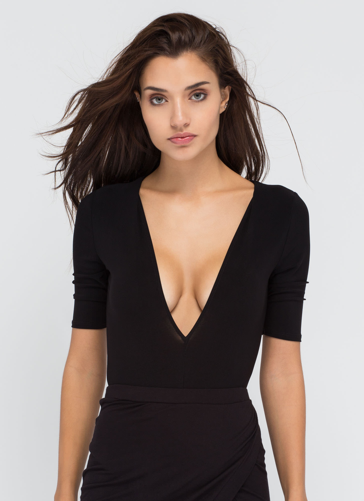 Keep It Close Plunging Bodysuit BLACK