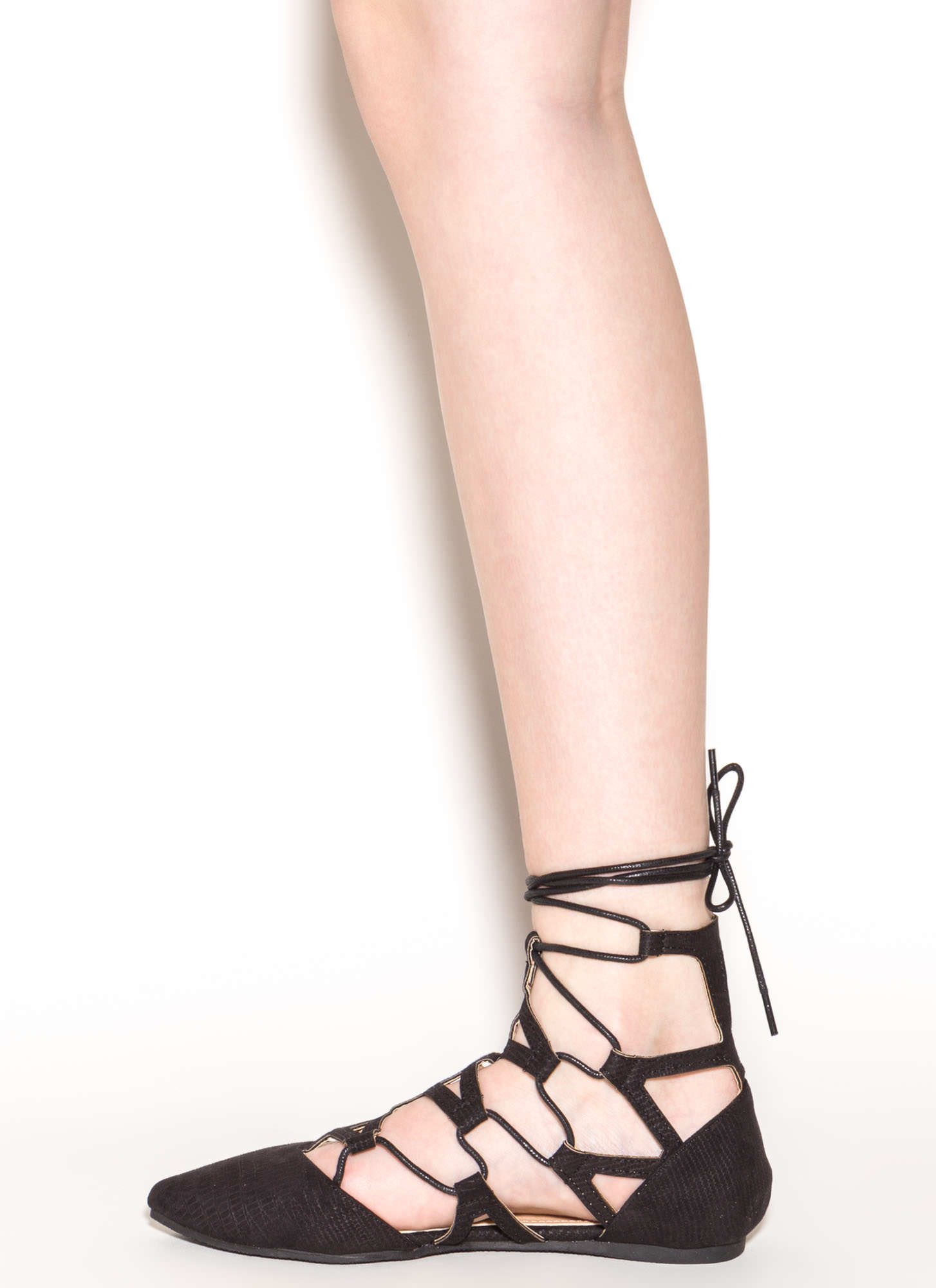 Snake Charmer Pointy Faux Suede Flats BLACK