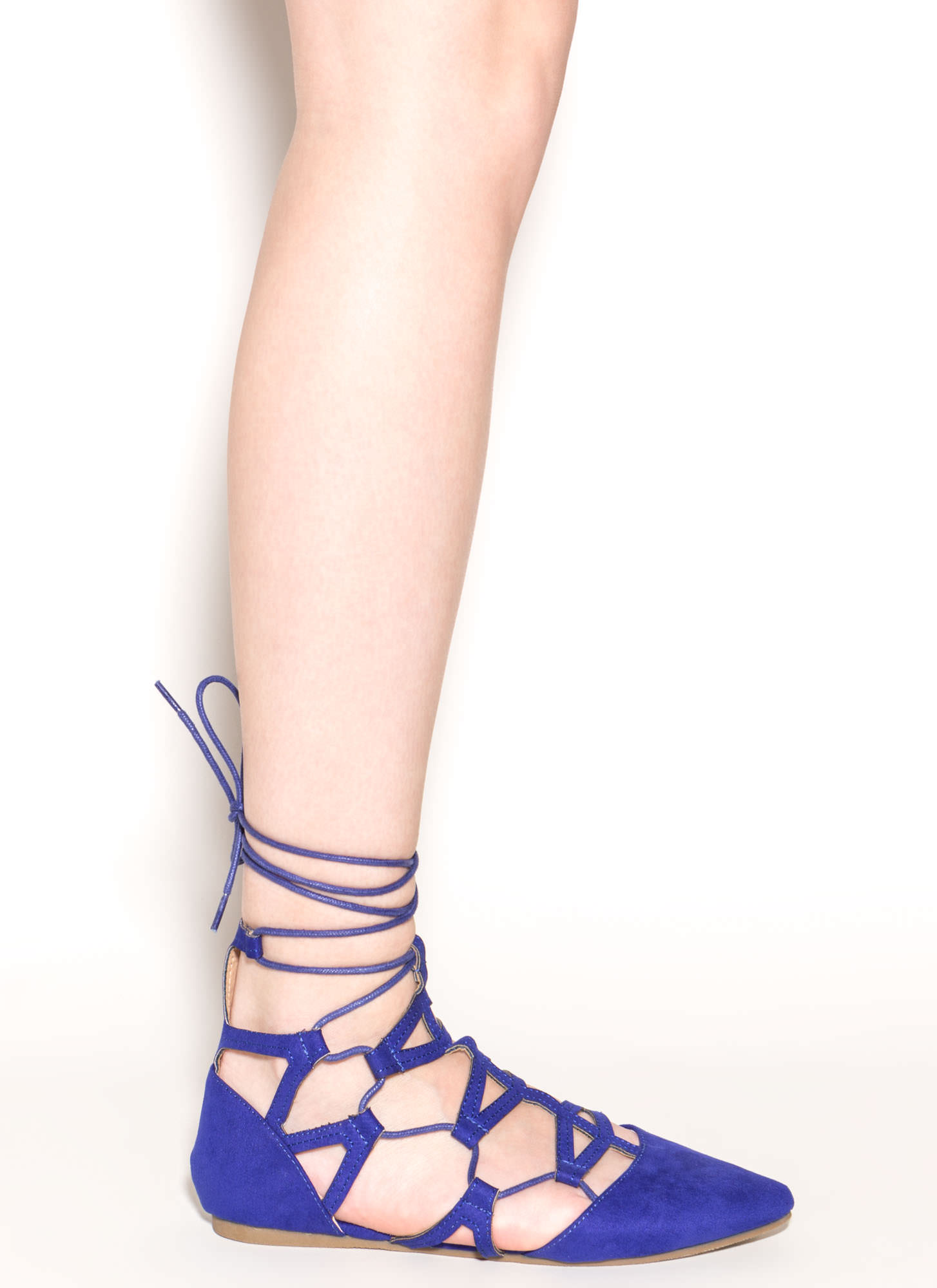 Snake Charmer Pointy Faux Suede Flats BLUE