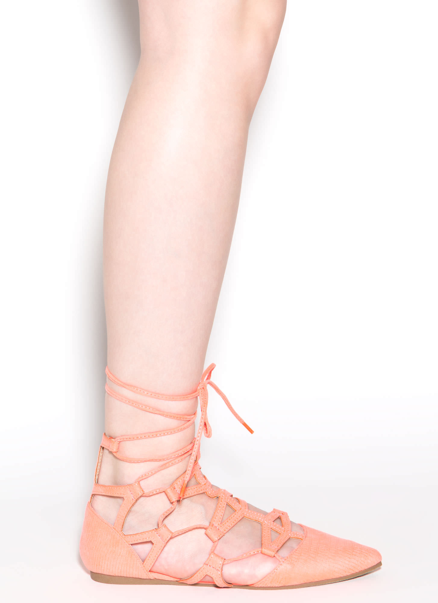 Snake Charmer Pointy Faux Suede Flats NEONCORAL