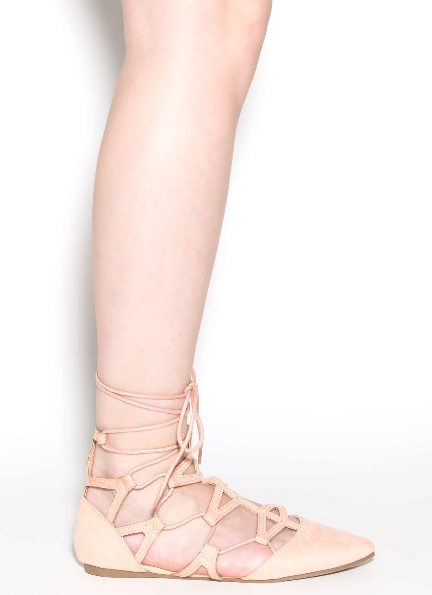 Snake Charmer Pointy Faux Suede Flats NUDE