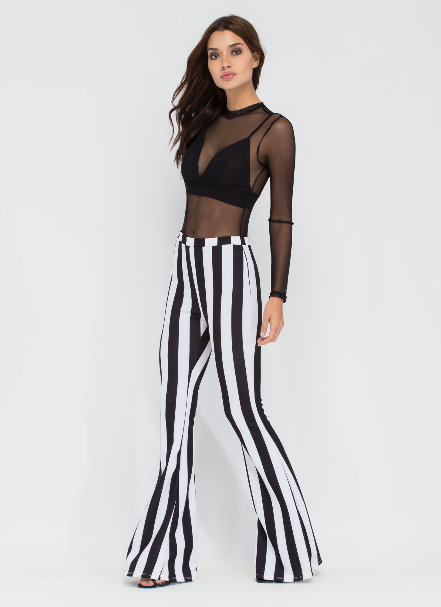 Fanfare Striped Flare Pants BLACKWHITE